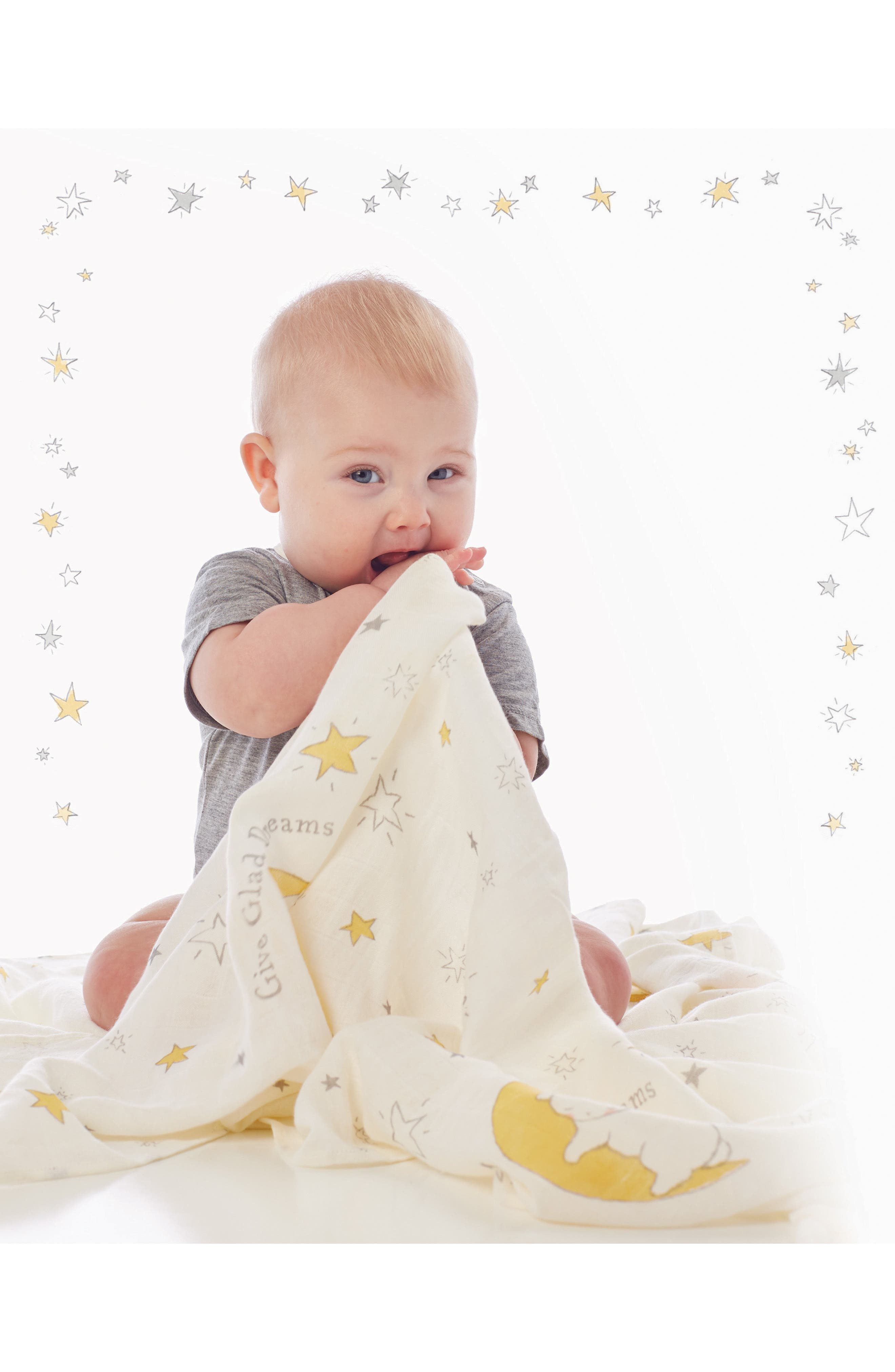 Alternate Image 4  - Bunnies By The Bay Swaddle, Buddy Blanket, Pacifier Holder & Teething Ring Rattle Set (Baby)