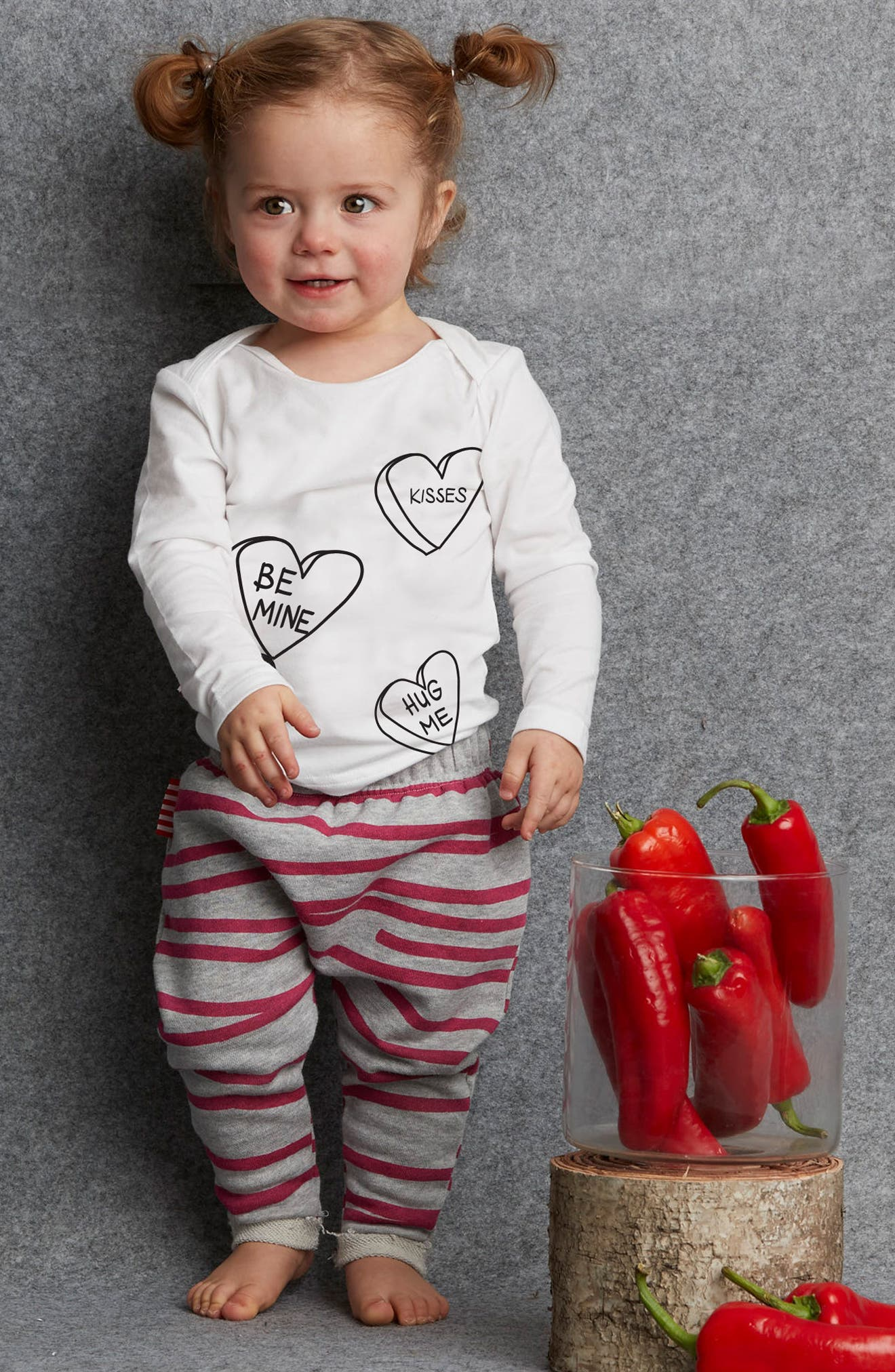 Alternate Image 2  - SOOKIbaby Be Mine Tee & Stripe Sweatpants Set (Baby Girls)
