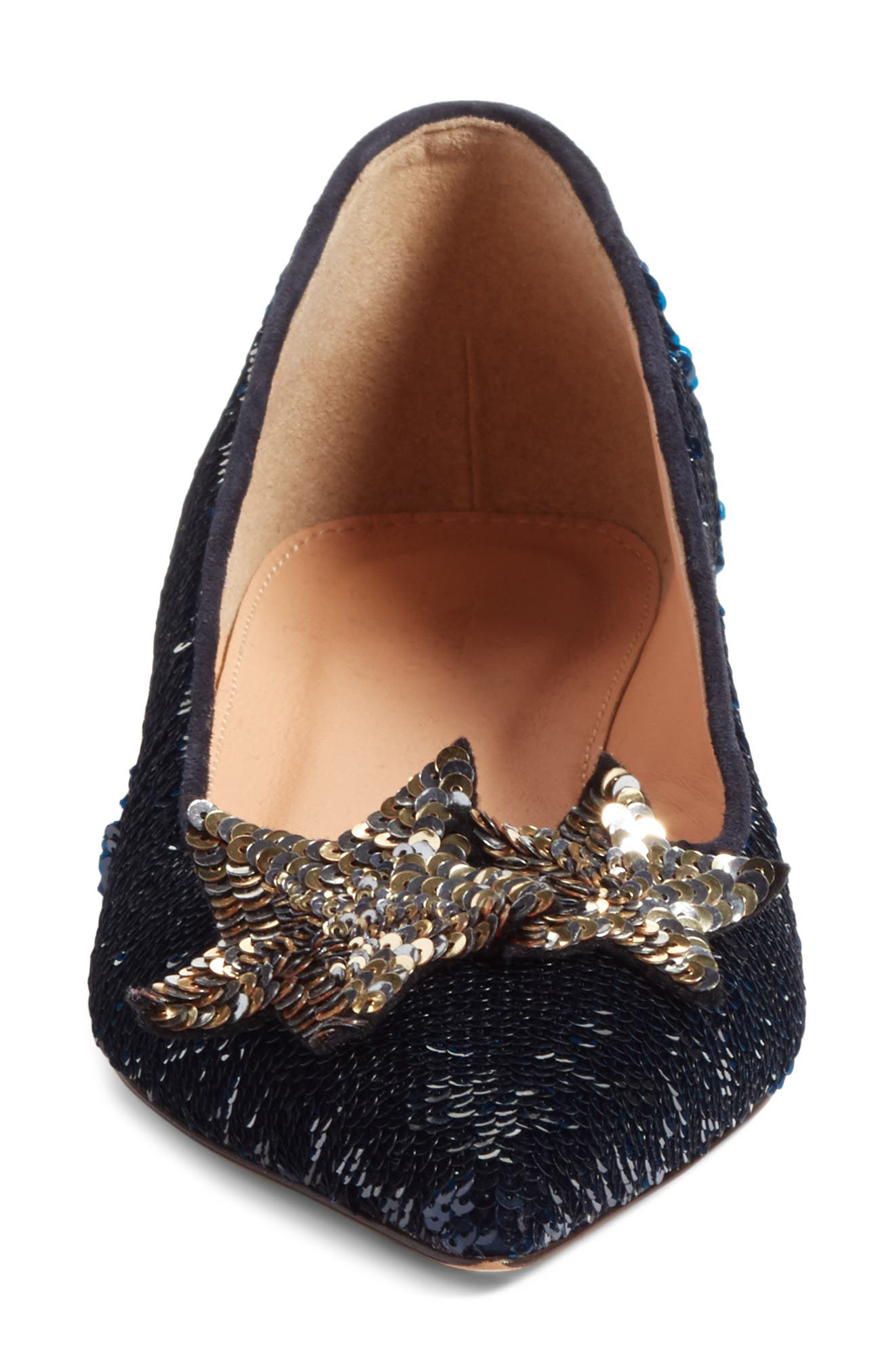 Harlech Sequin Star Flat,                             Alternate thumbnail 4, color,                             Navy Sequin Fabric