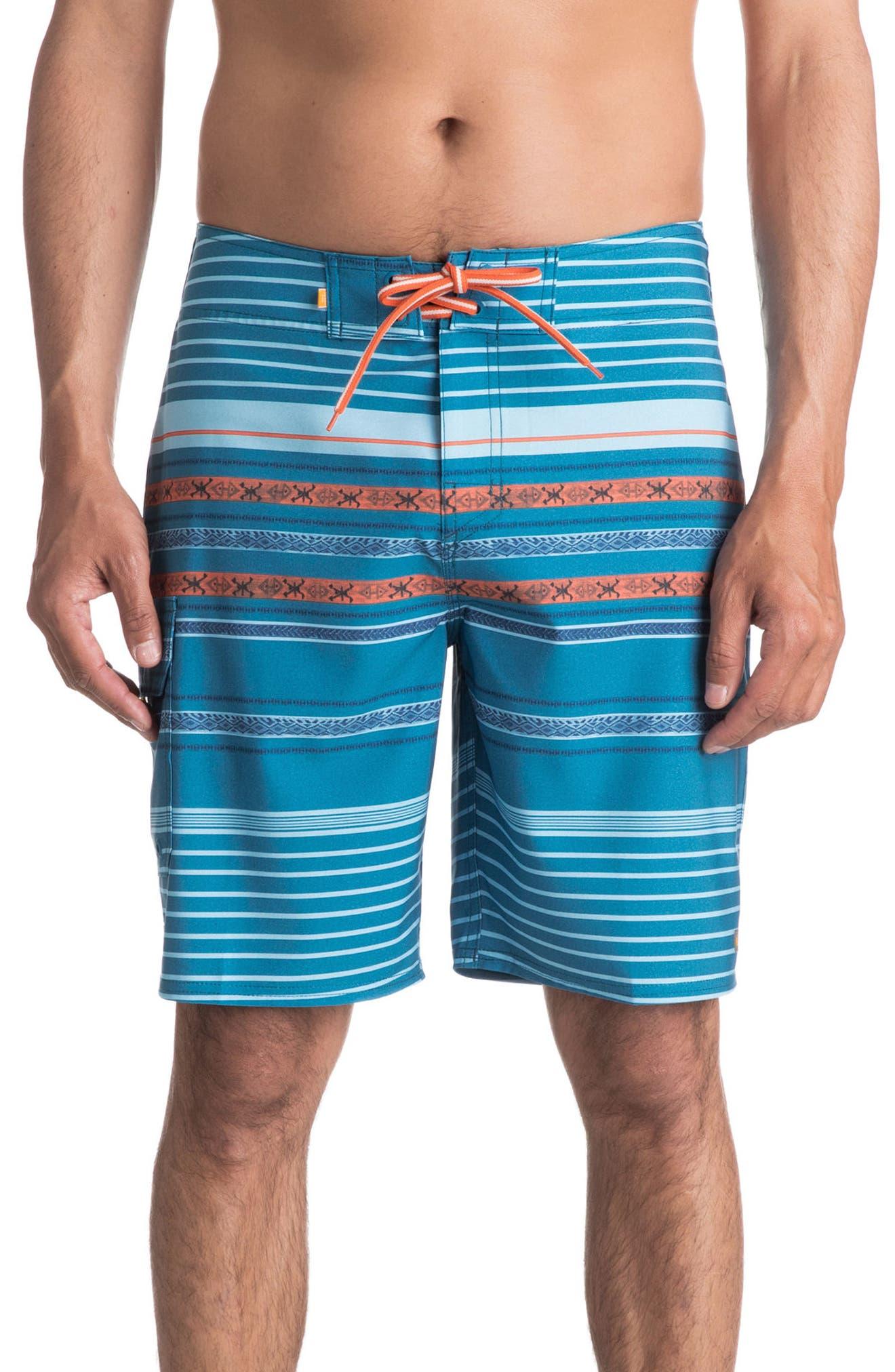 Inca Stripe Board Shorts,                         Main,                         color, Celestial