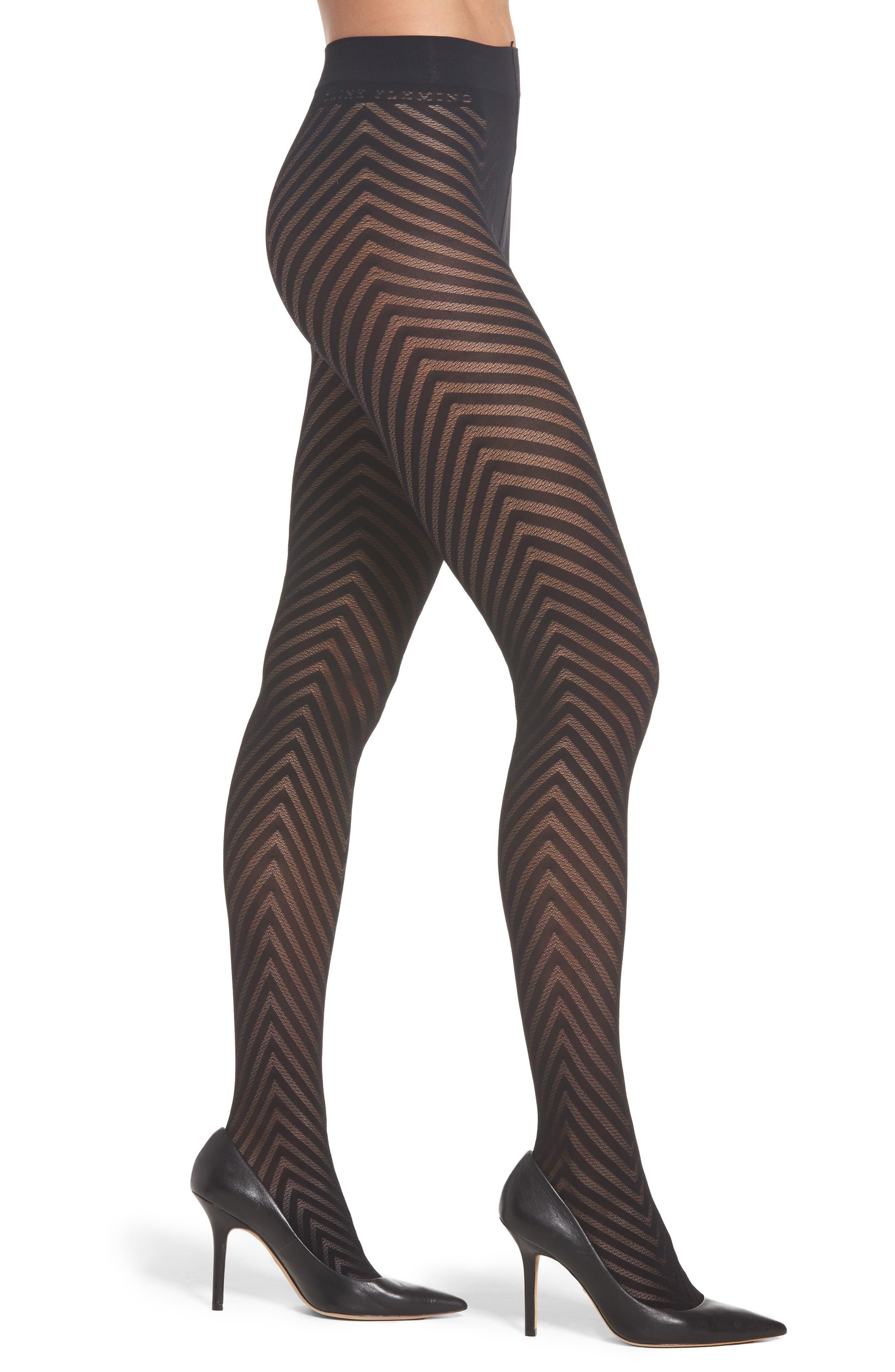 Alternate Image 1 Selected - Beautiful Legs by Caroline Fleming Chevron Pantyhose