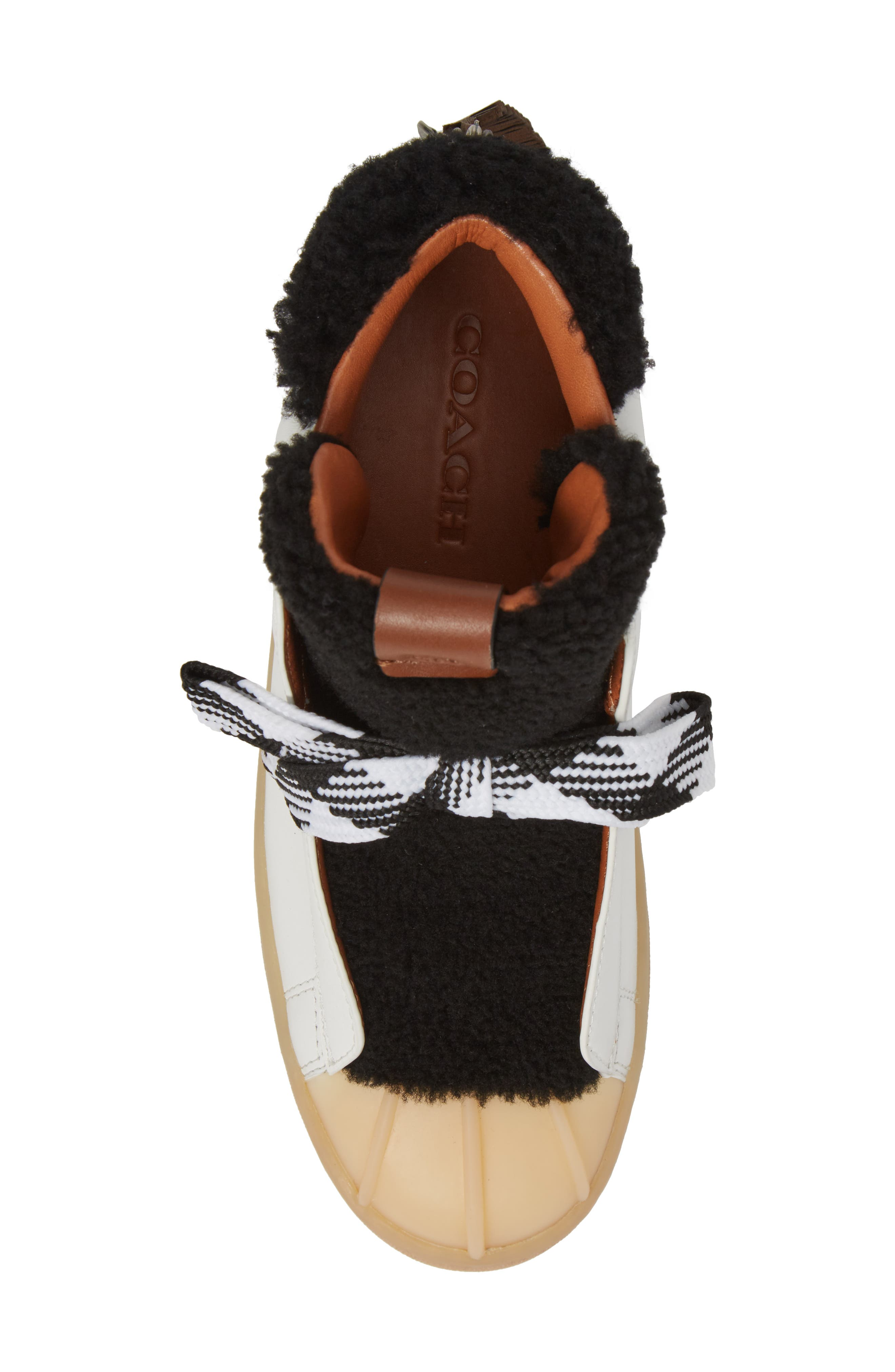 Genuine Shearling High Top Sneaker,                             Alternate thumbnail 5, color,                             Black/ White Suede
