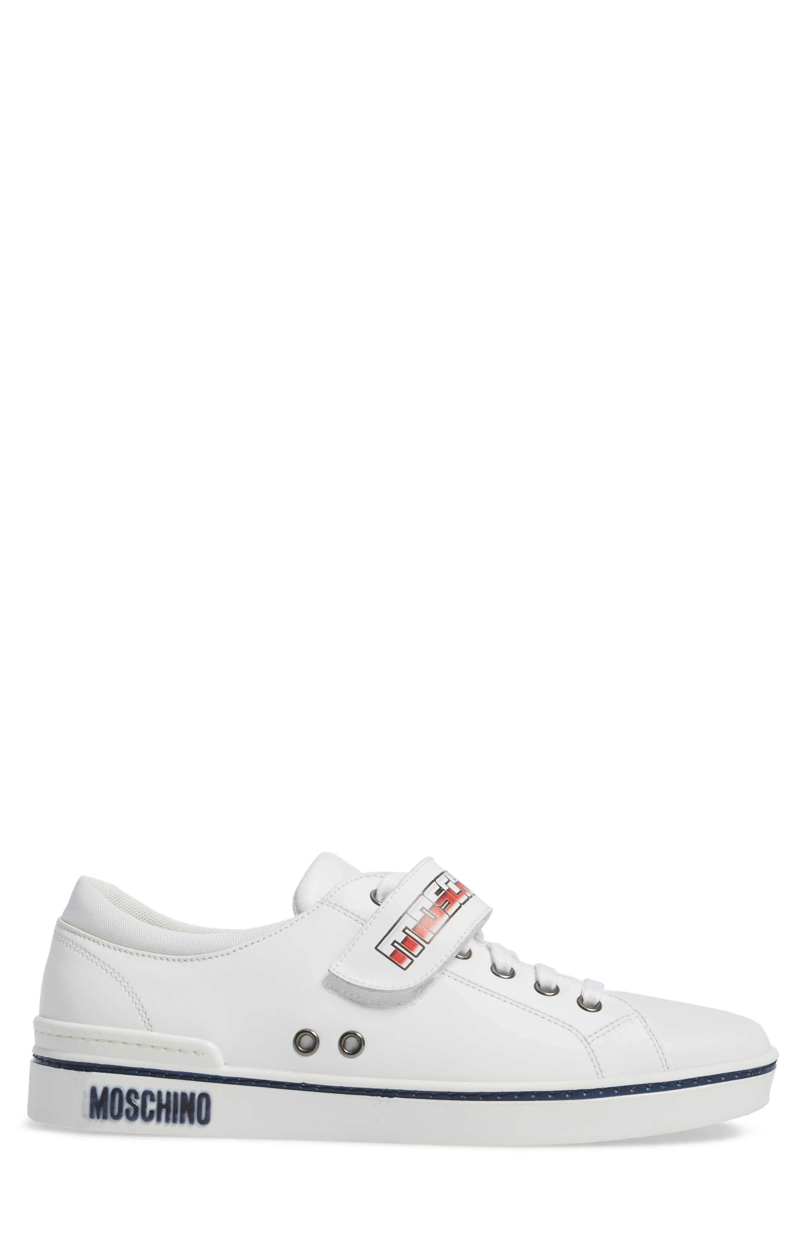 Strap Sneaker,                             Alternate thumbnail 3, color,                             White Leather