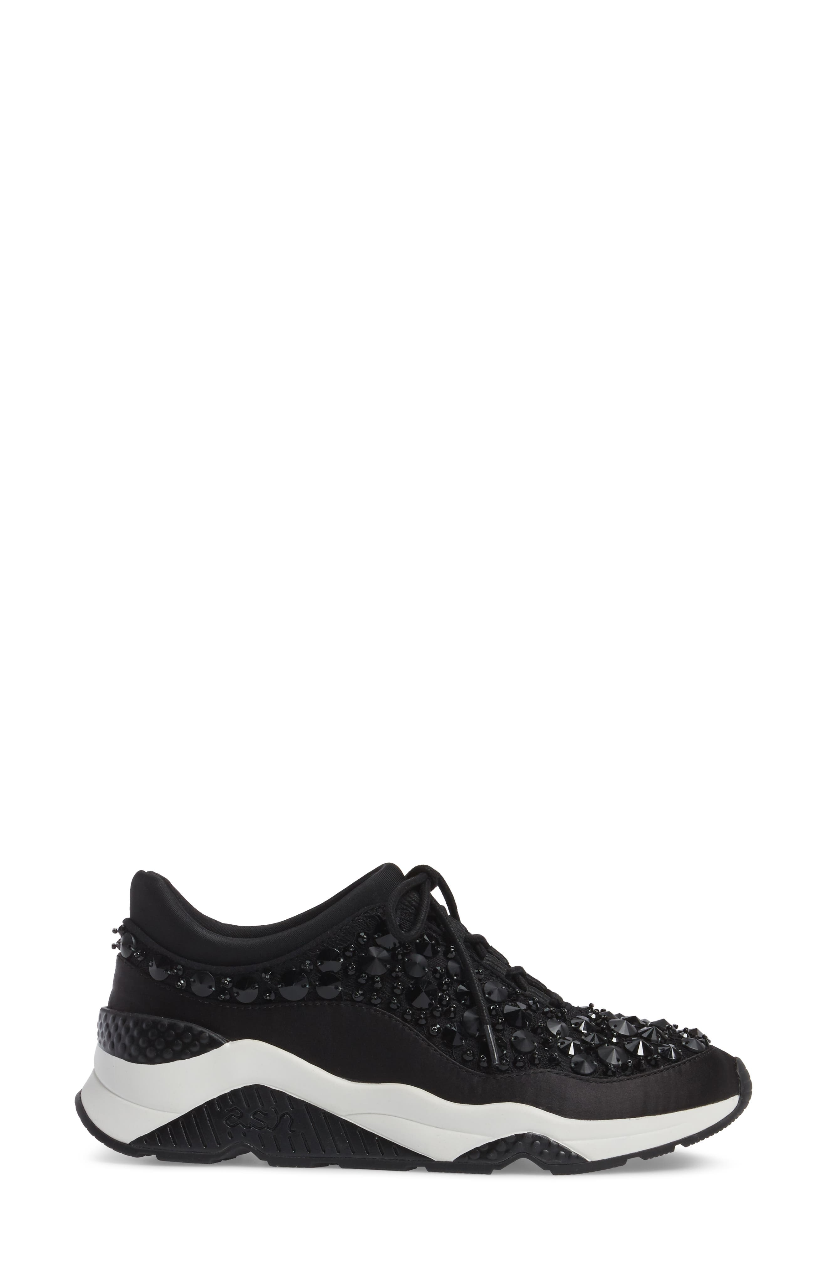 Muse Beads Sneaker,                             Alternate thumbnail 3, color,                             Black/ Black Fabric