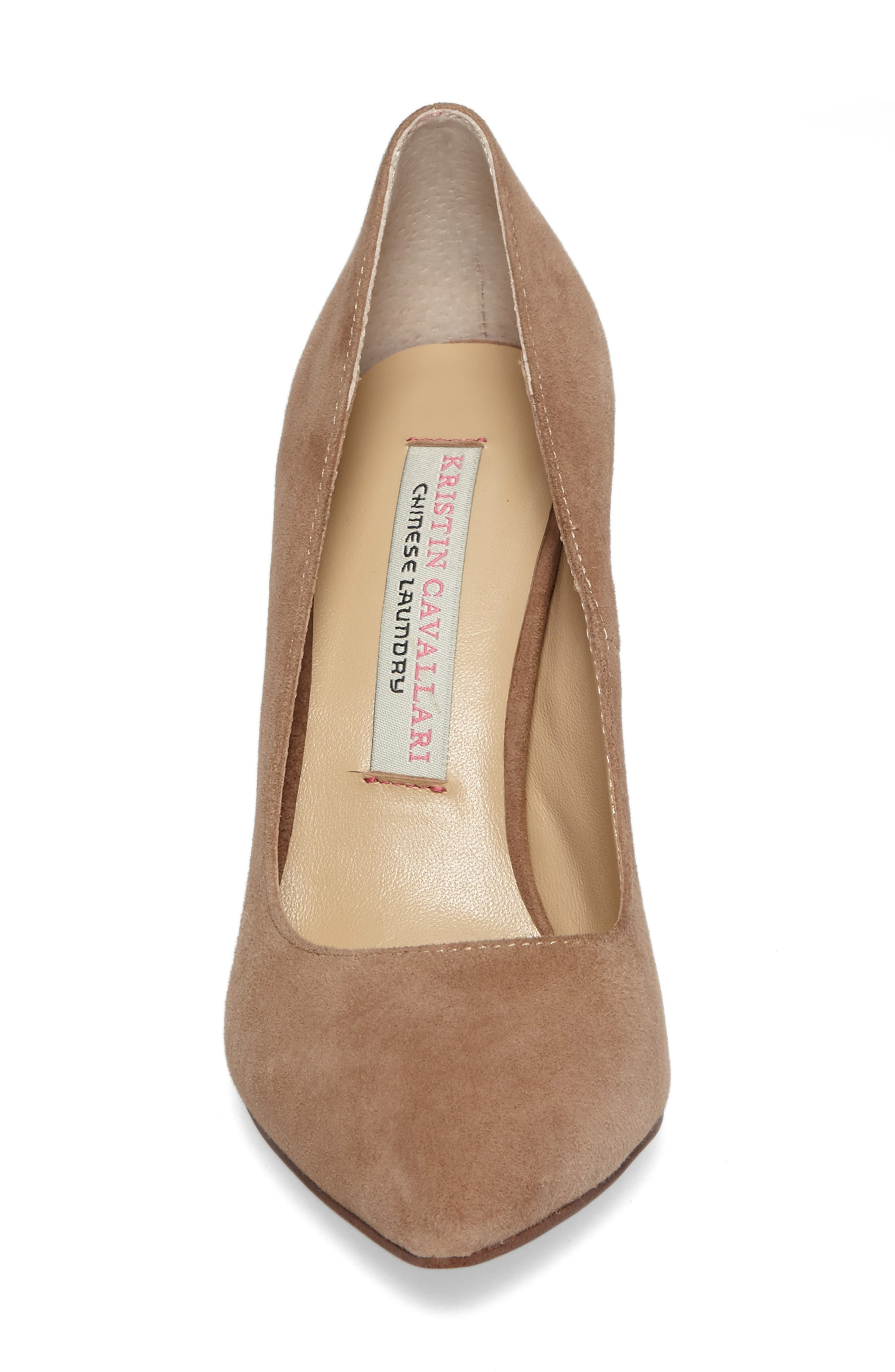 Gisele Pointy Toe Pump,                             Alternate thumbnail 4, color,                             Clay Suede