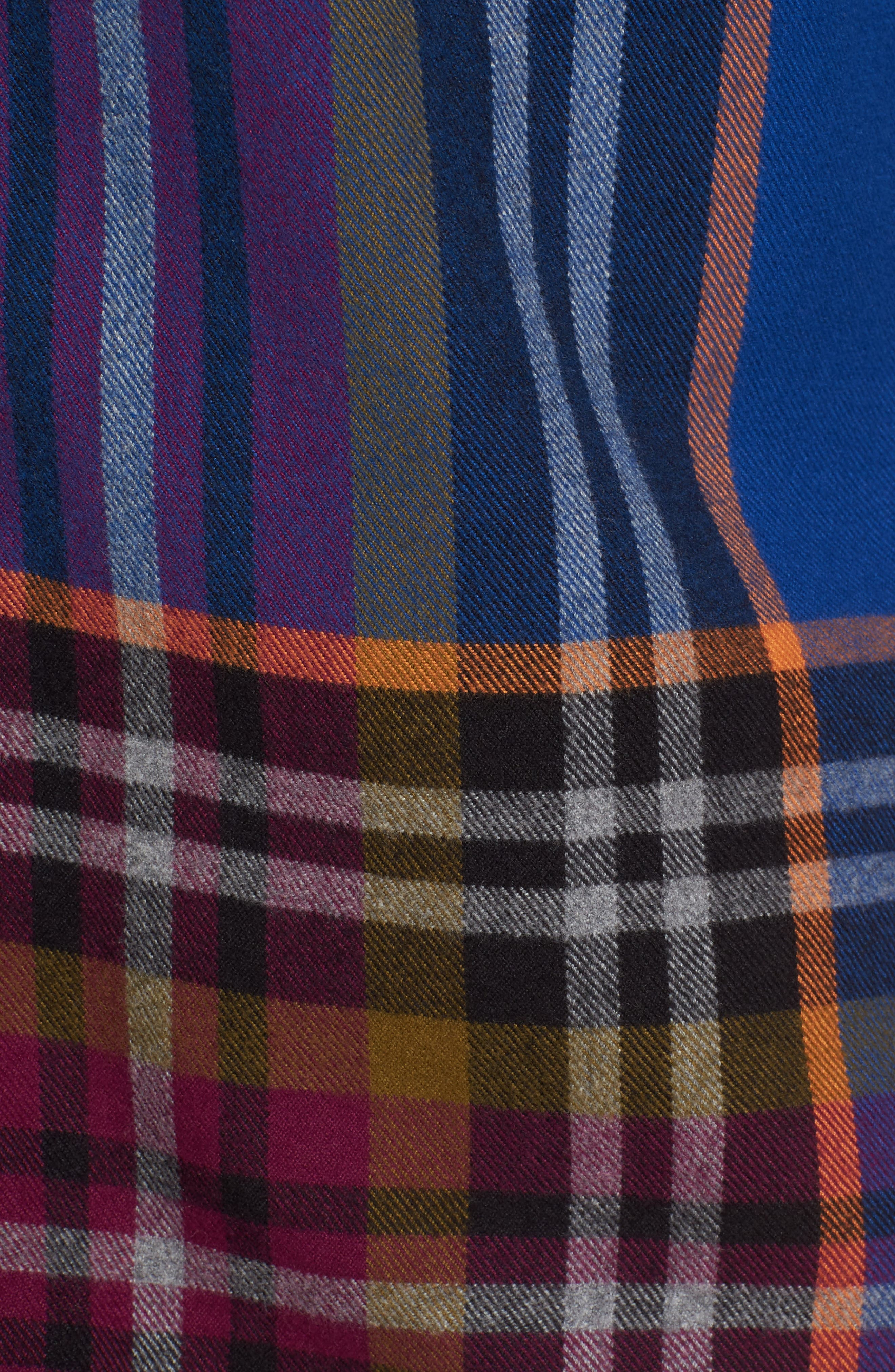 Brushed Flannel Plaid Shirt,                             Alternate thumbnail 5, color,                             Blue