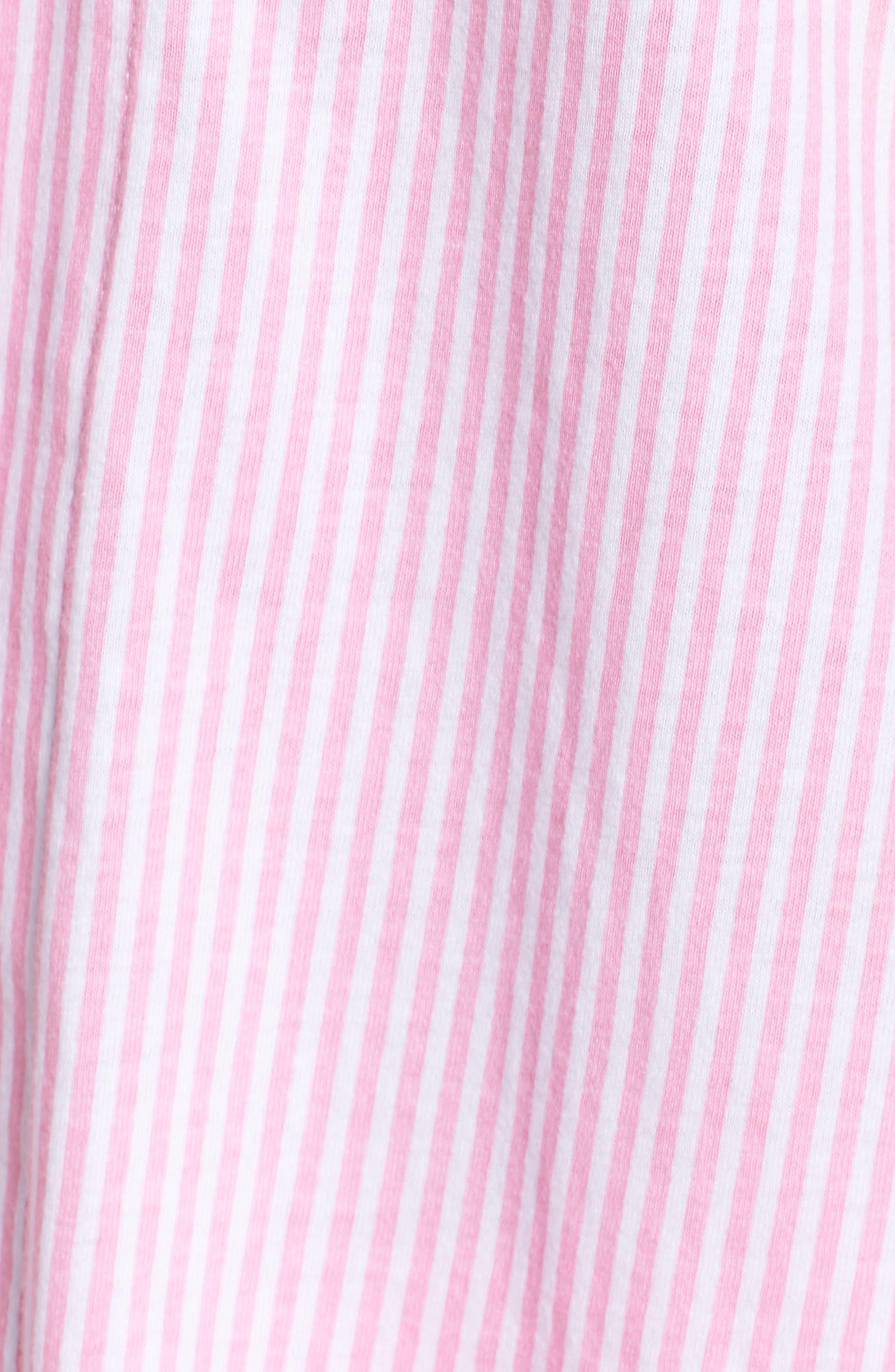 Knit Crop Pajamas,                             Alternate thumbnail 5, color,                             Lagoon Pink/ White Stripe