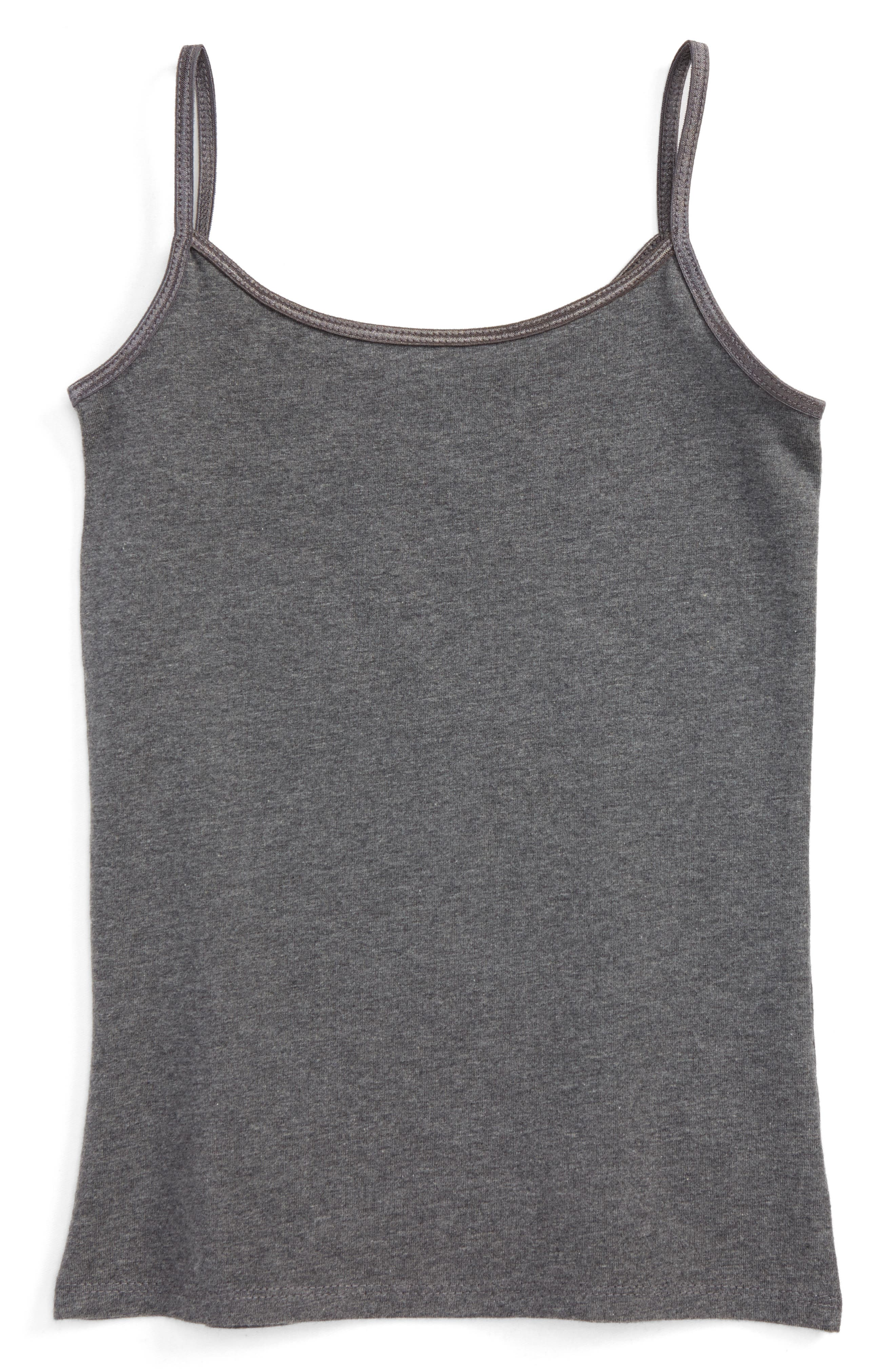 Heathered Long Camisole,                             Main thumbnail 1, color,                             Grey Charcoal Heather