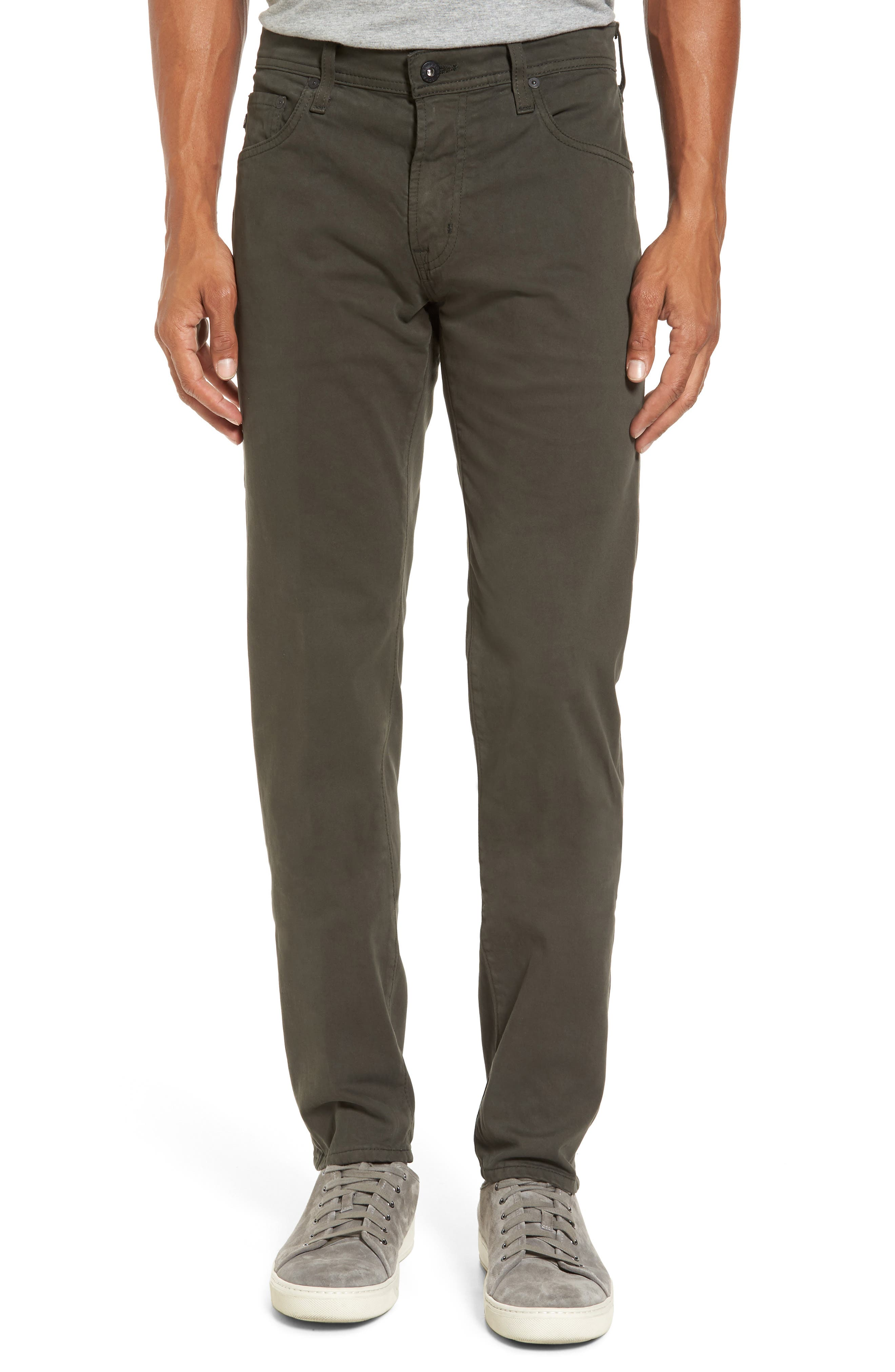 Tellis SUD Modern Slim Stretch Twill Pants,                             Main thumbnail 1, color,                             Green Forest