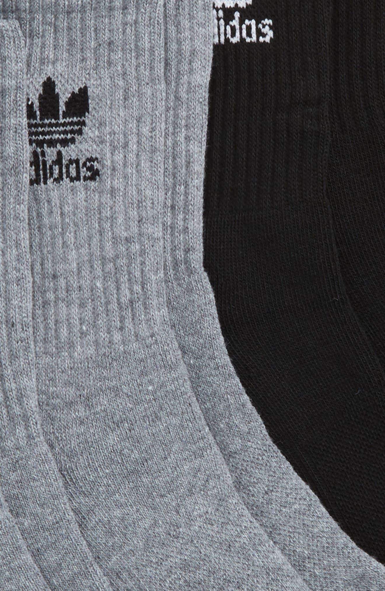 Trefoil 6-Pack Crew Socks,                             Alternate thumbnail 2, color,                             Heather Grey/ Black/ White