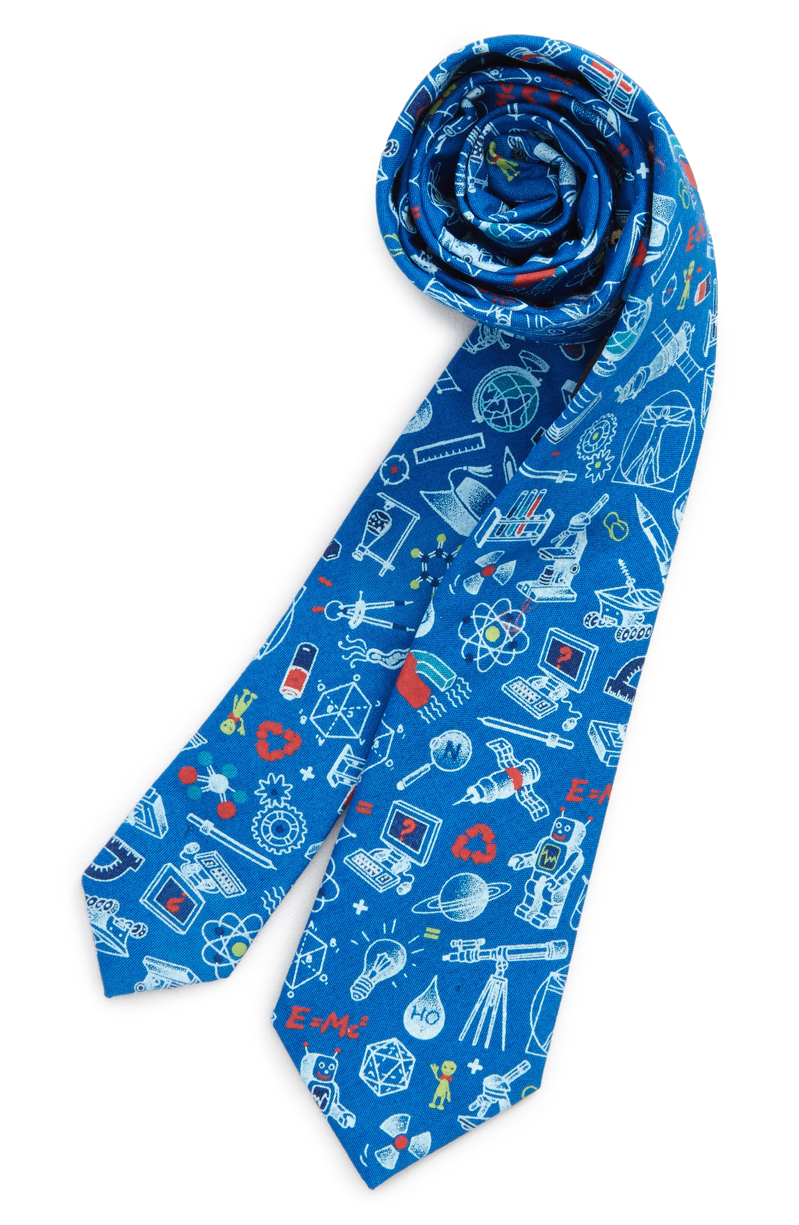 Science Print Cotton Tie,                         Main,                         color, Blue
