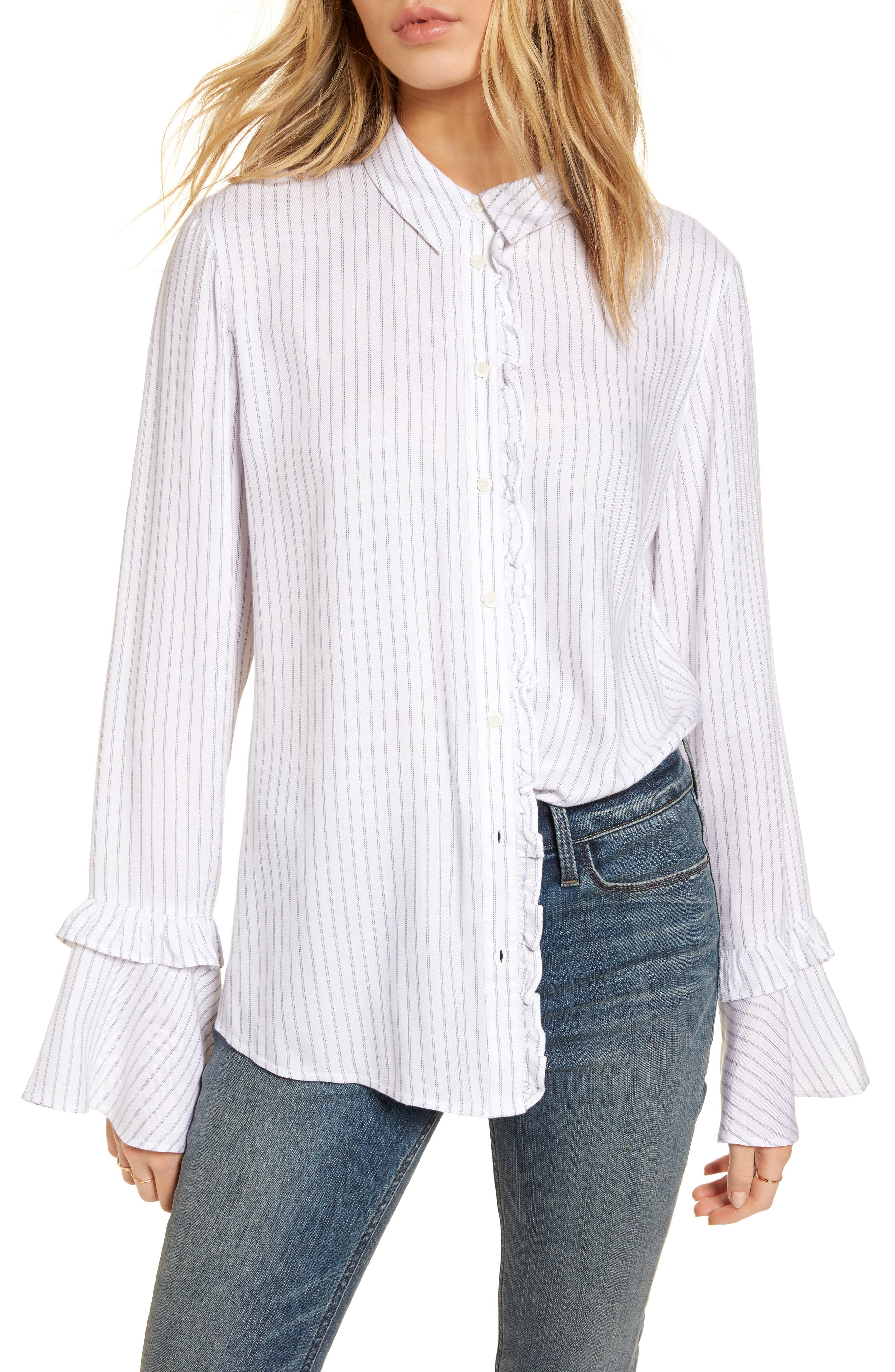 Bell Sleeve Shirt,                             Main thumbnail 1, color,                             White Double Pinstripe