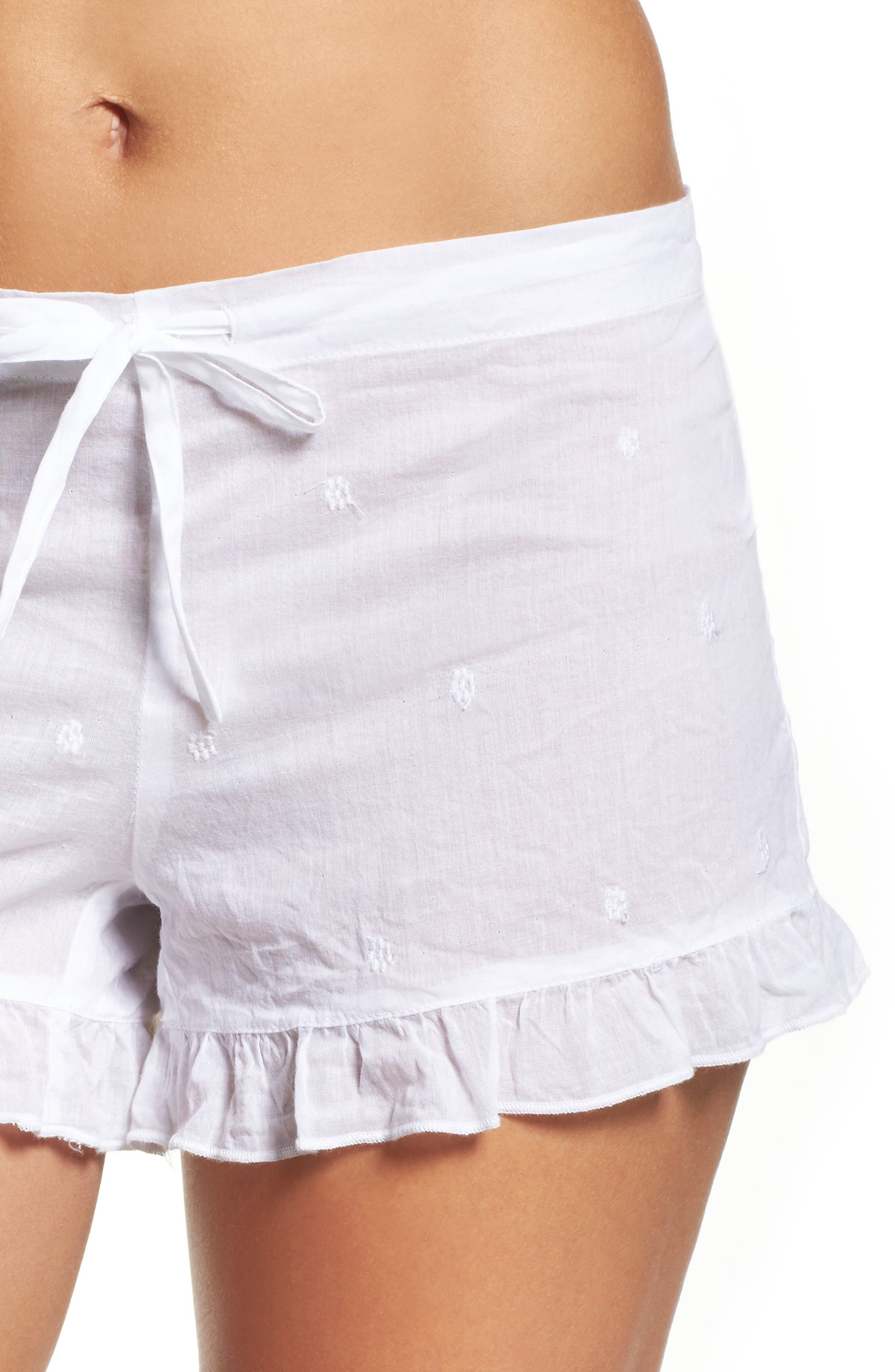 Ruffle Sleep Shorts,                             Alternate thumbnail 4, color,                             White