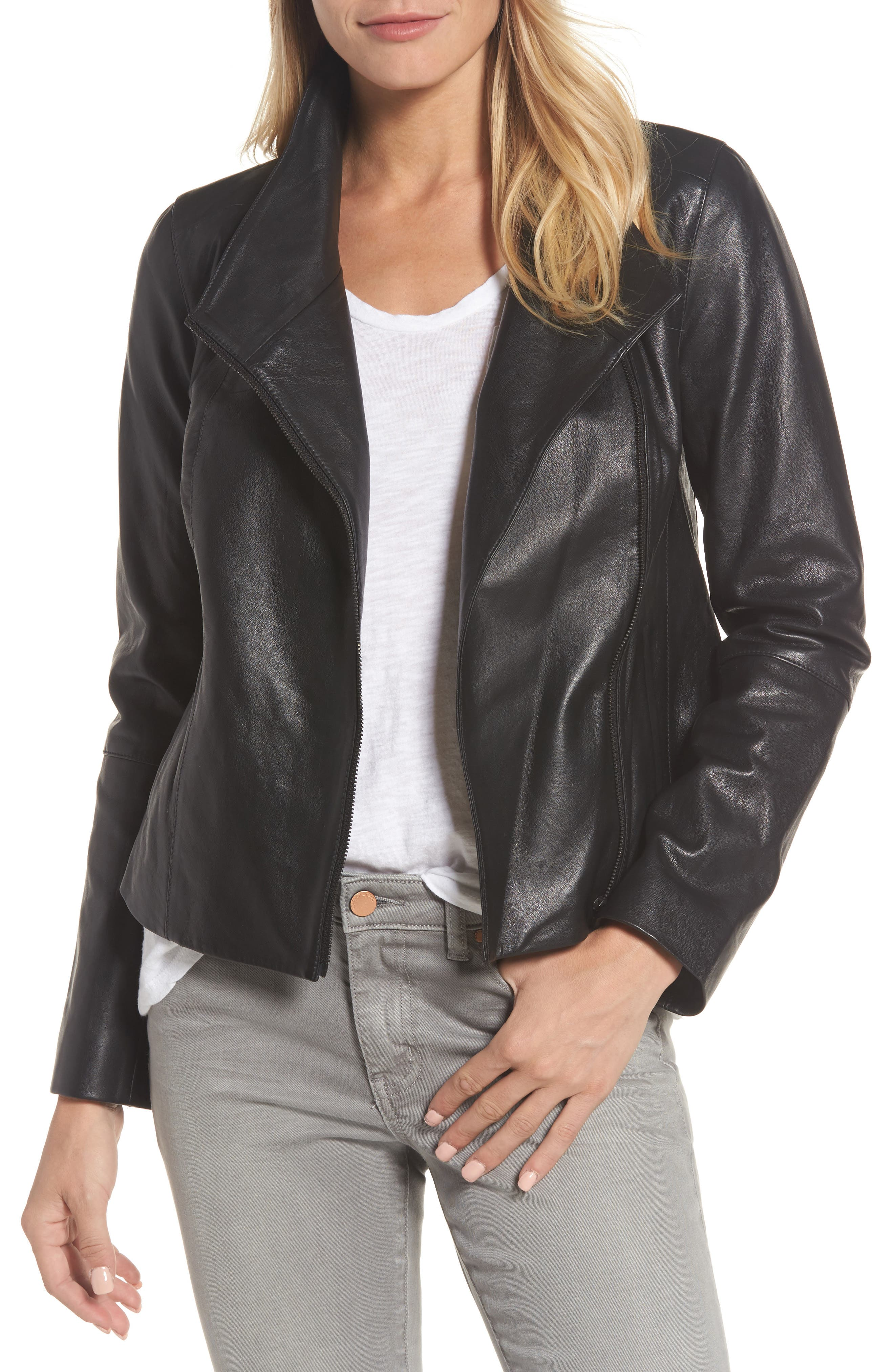 Front Zip Leather Jacket,                         Main,                         color, Black Caviar