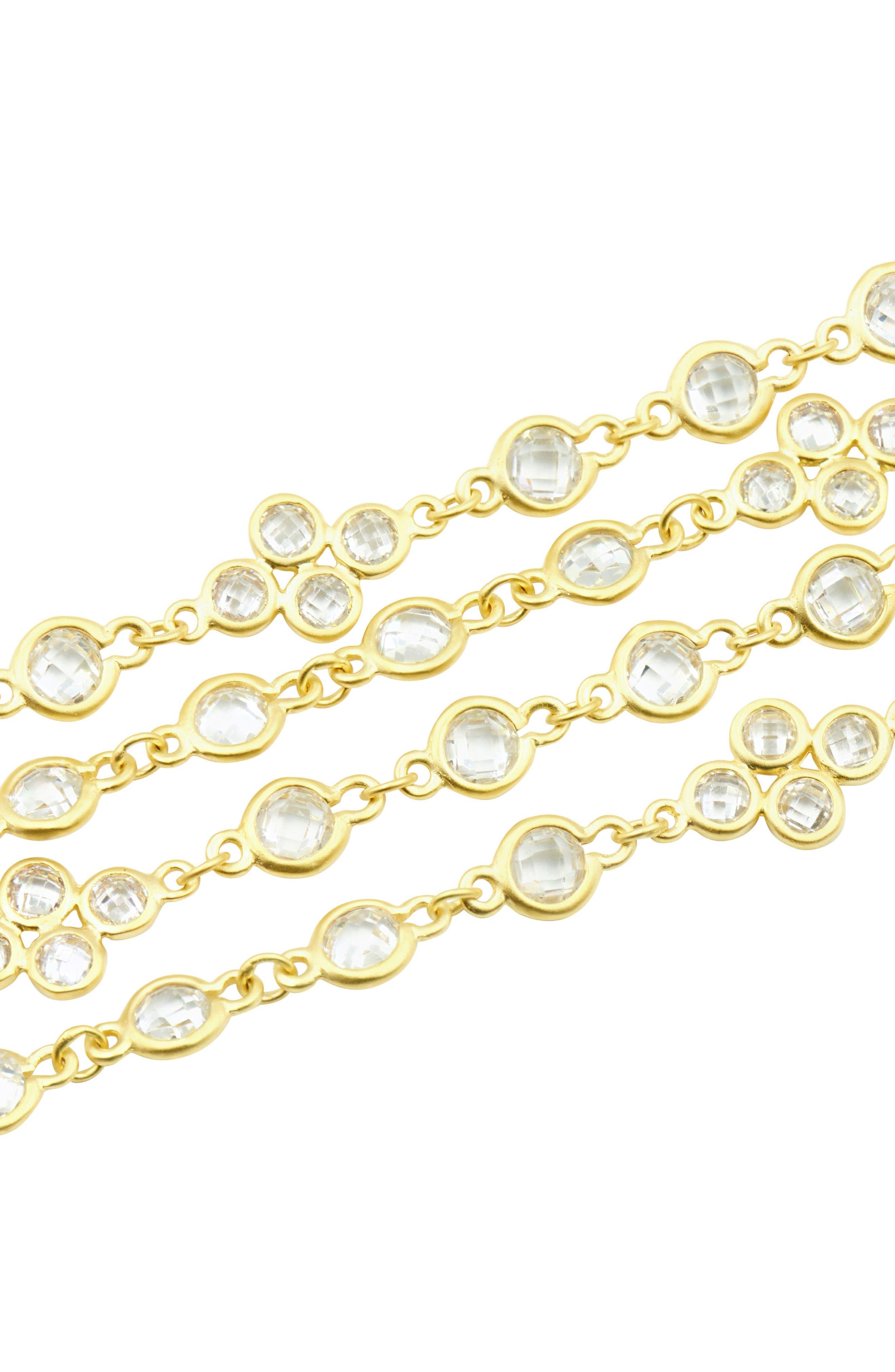 Audrey Radiance Four-Chain Bracelet,                             Alternate thumbnail 2, color,                             Gold/ Clear