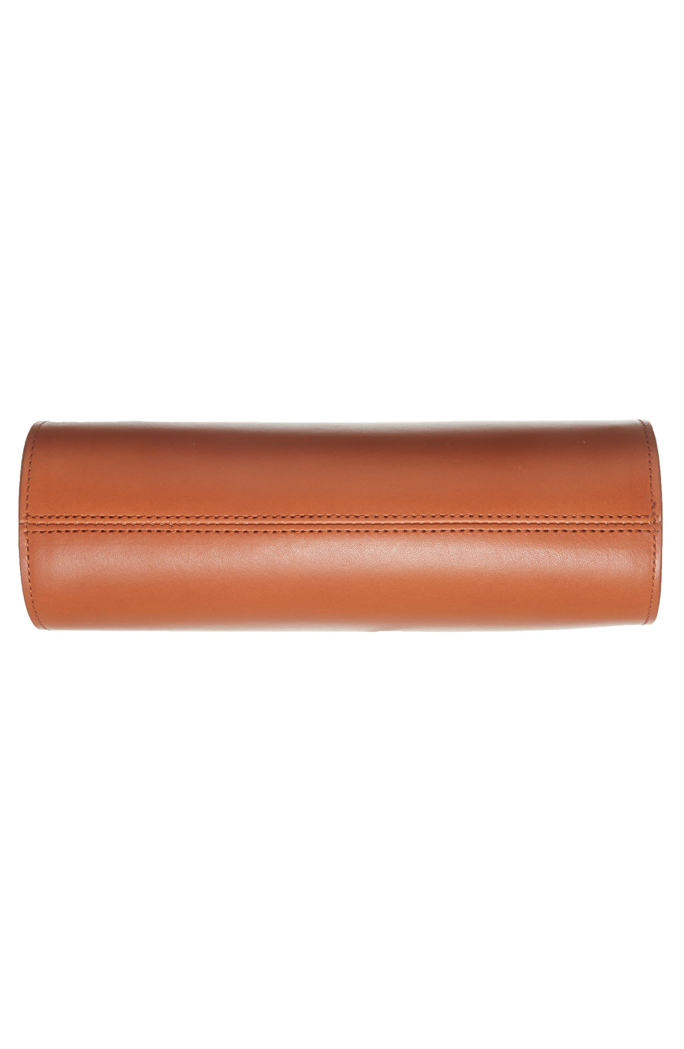 Sac Demi Lune Leather Crossbody Bag,                             Alternate thumbnail 4, color,                             Caramel