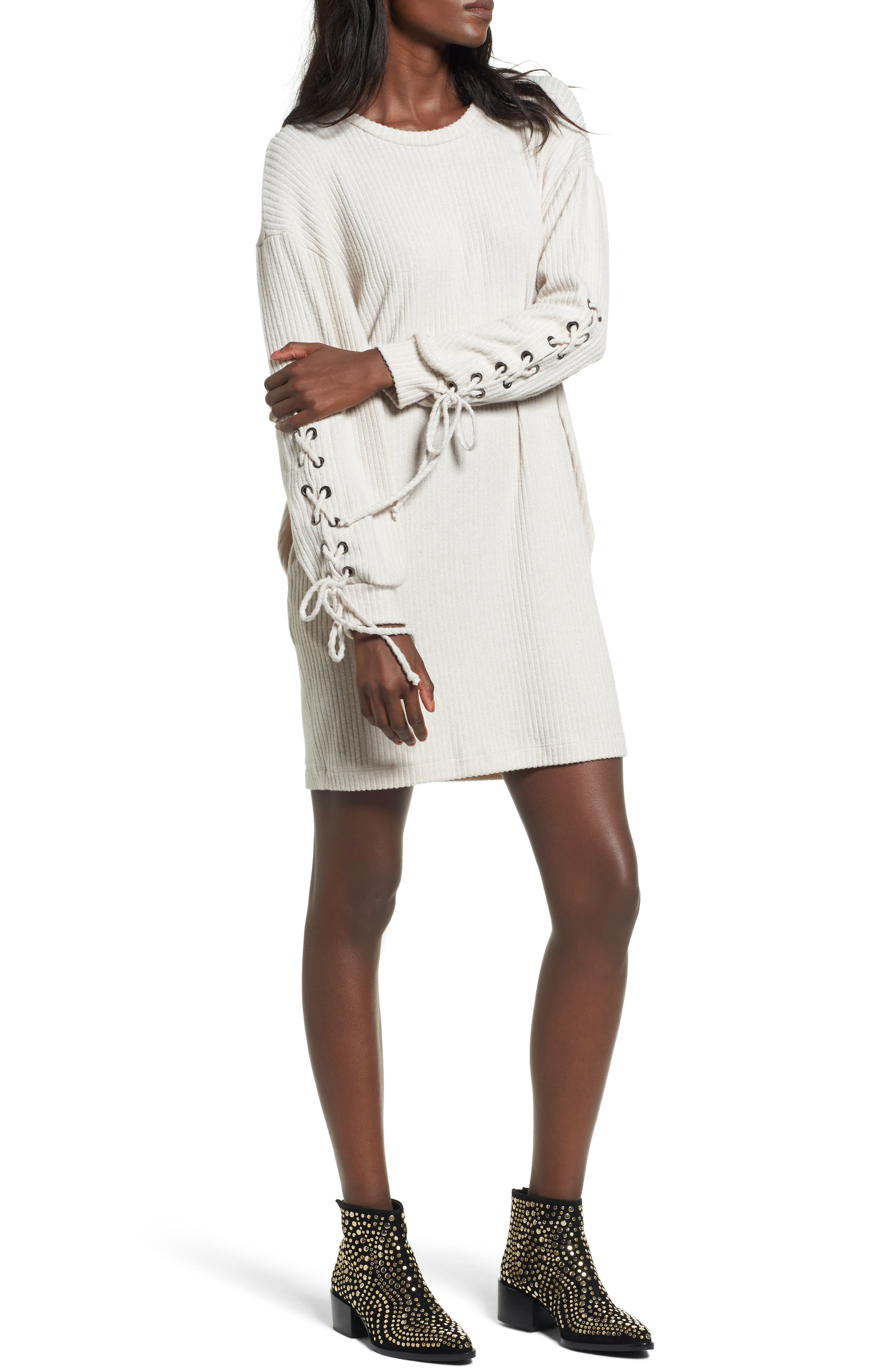 Lace-Up Sweater Dress,                         Main,                         color, Oatmeal