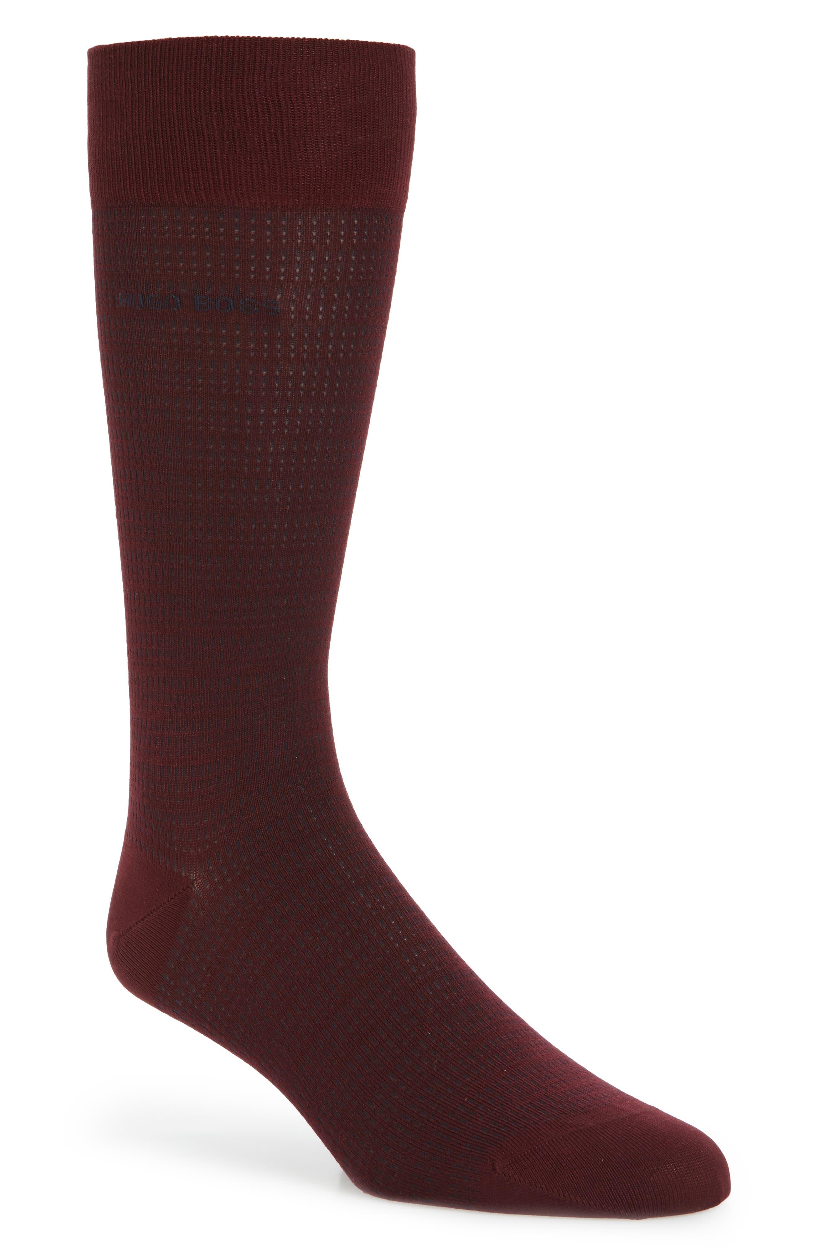 Micro Jacquard Socks,                             Main thumbnail 1, color,                             Dark Red