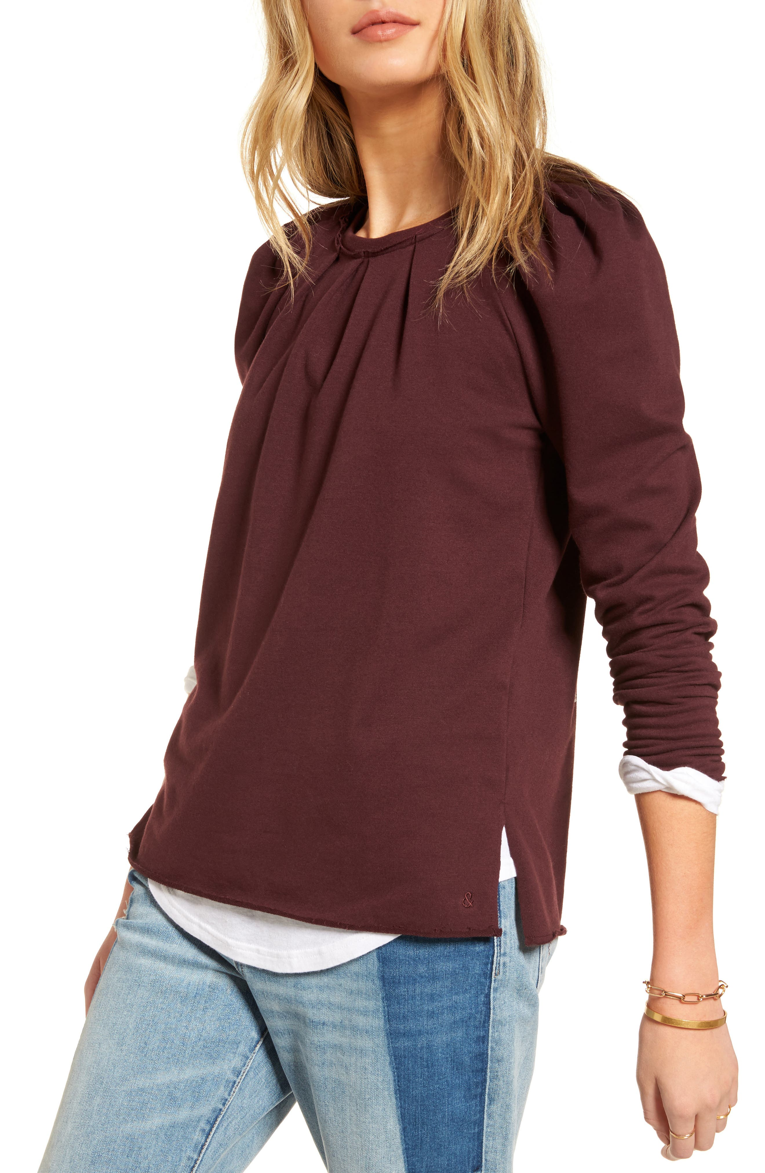 Pleated Knit Top,                         Main,                         color, Burgundy Stem