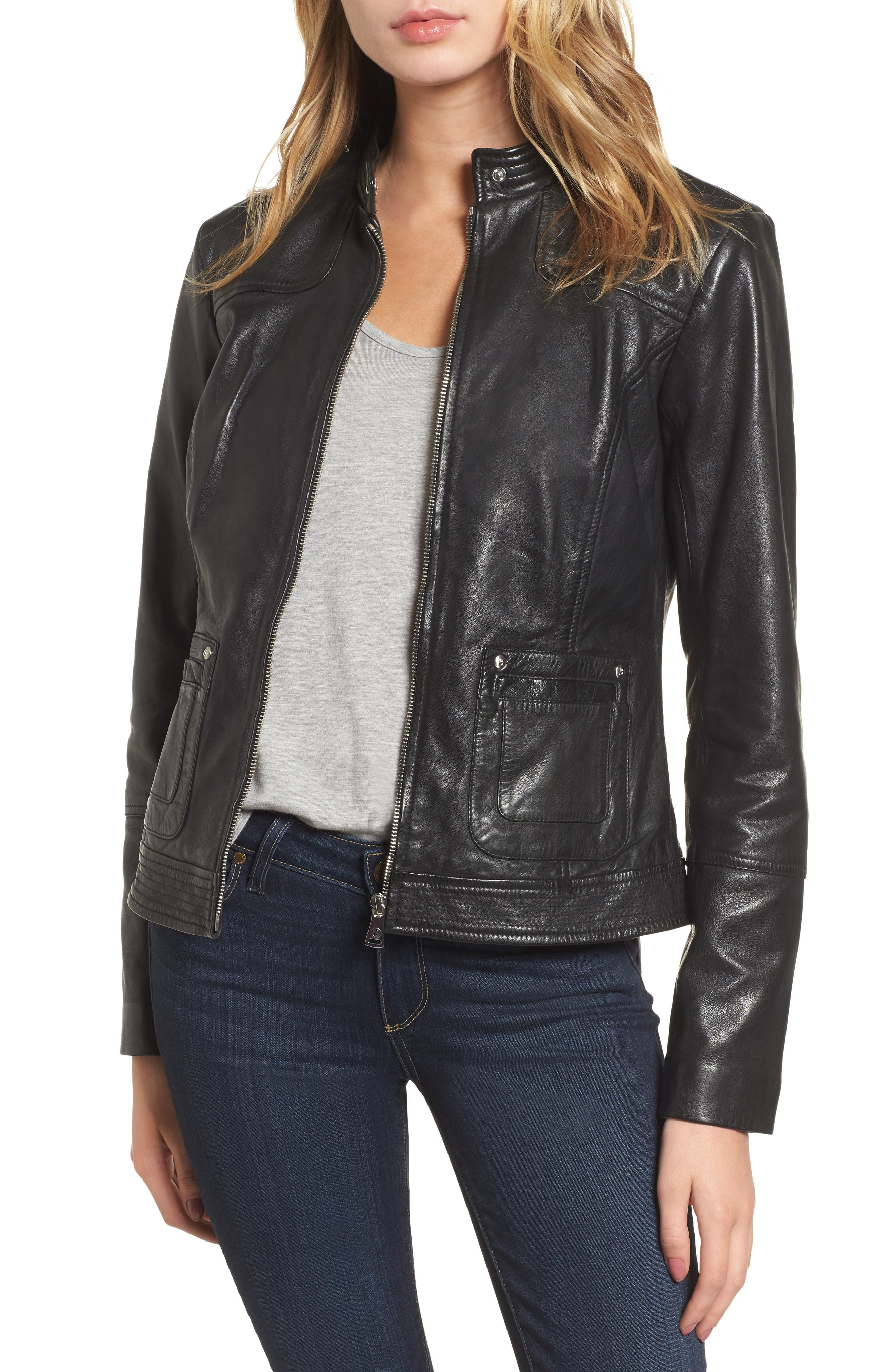 Main Image - Bernardo Leather Moto Jacket
