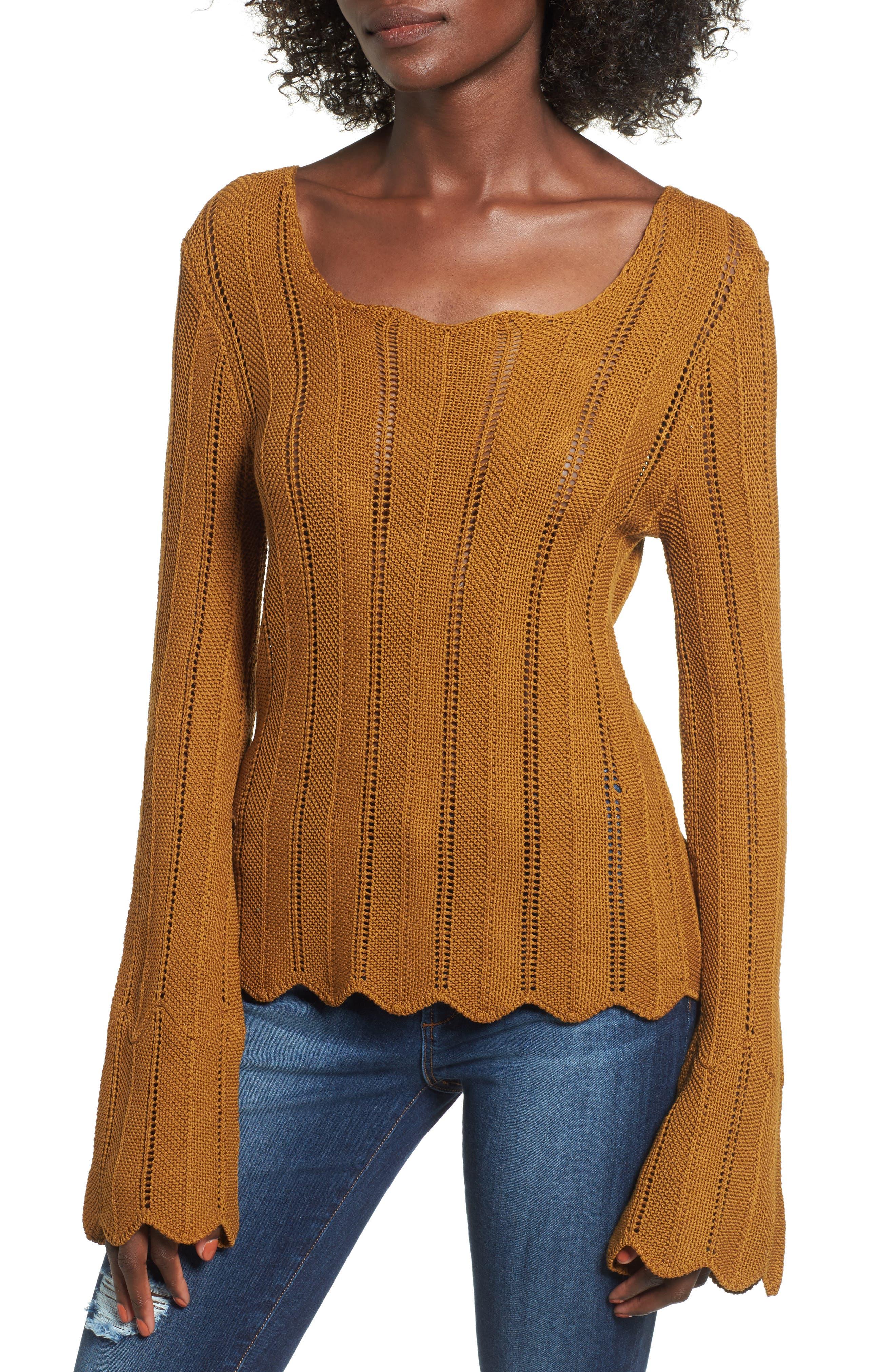 Robbie Tie Back Sweater,                         Main,                         color, Rust