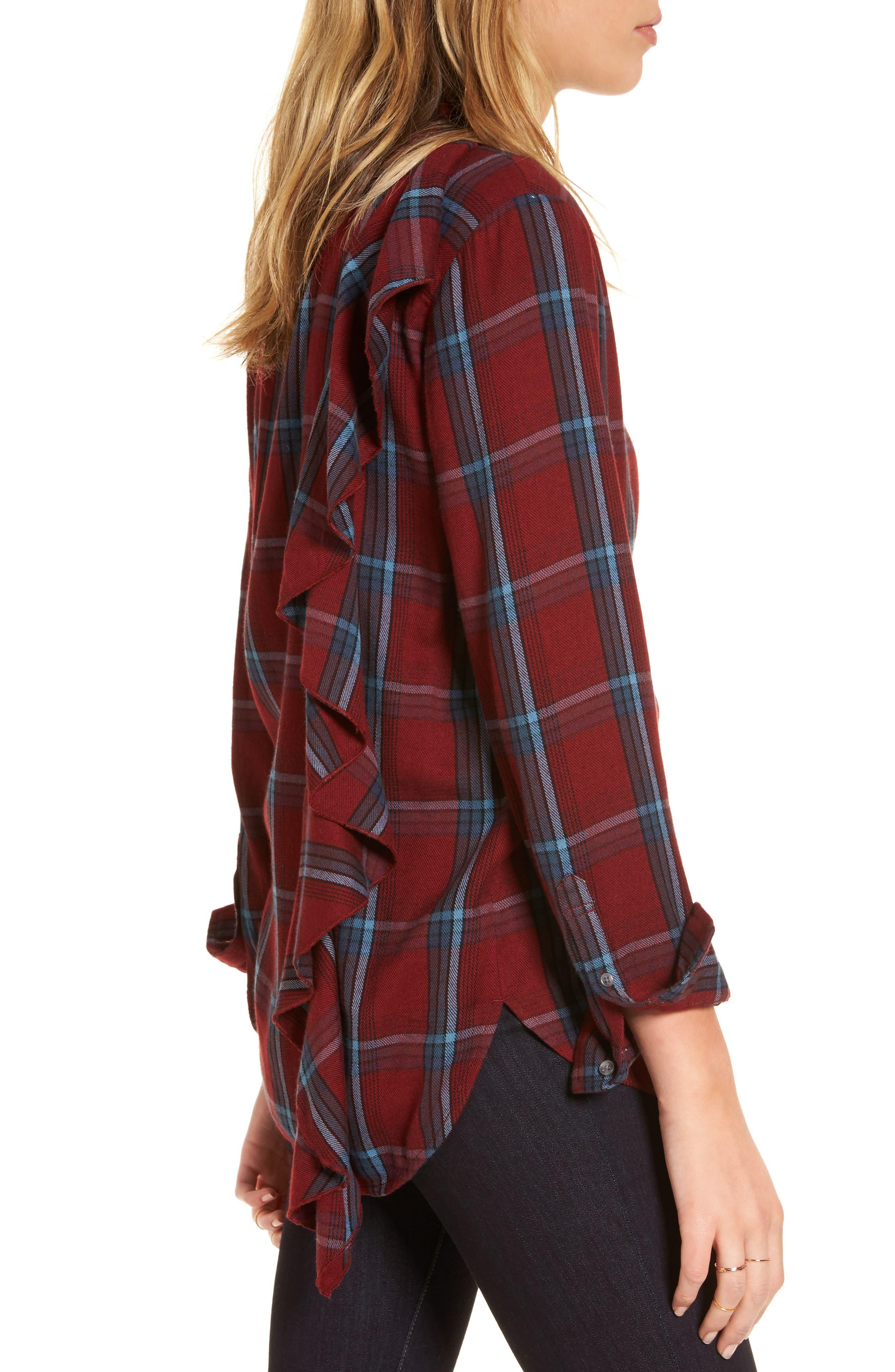 Ruffle Plaid Boyfriend Shirt,                             Alternate thumbnail 3, color,                             Red Syrah Three Box Tartan
