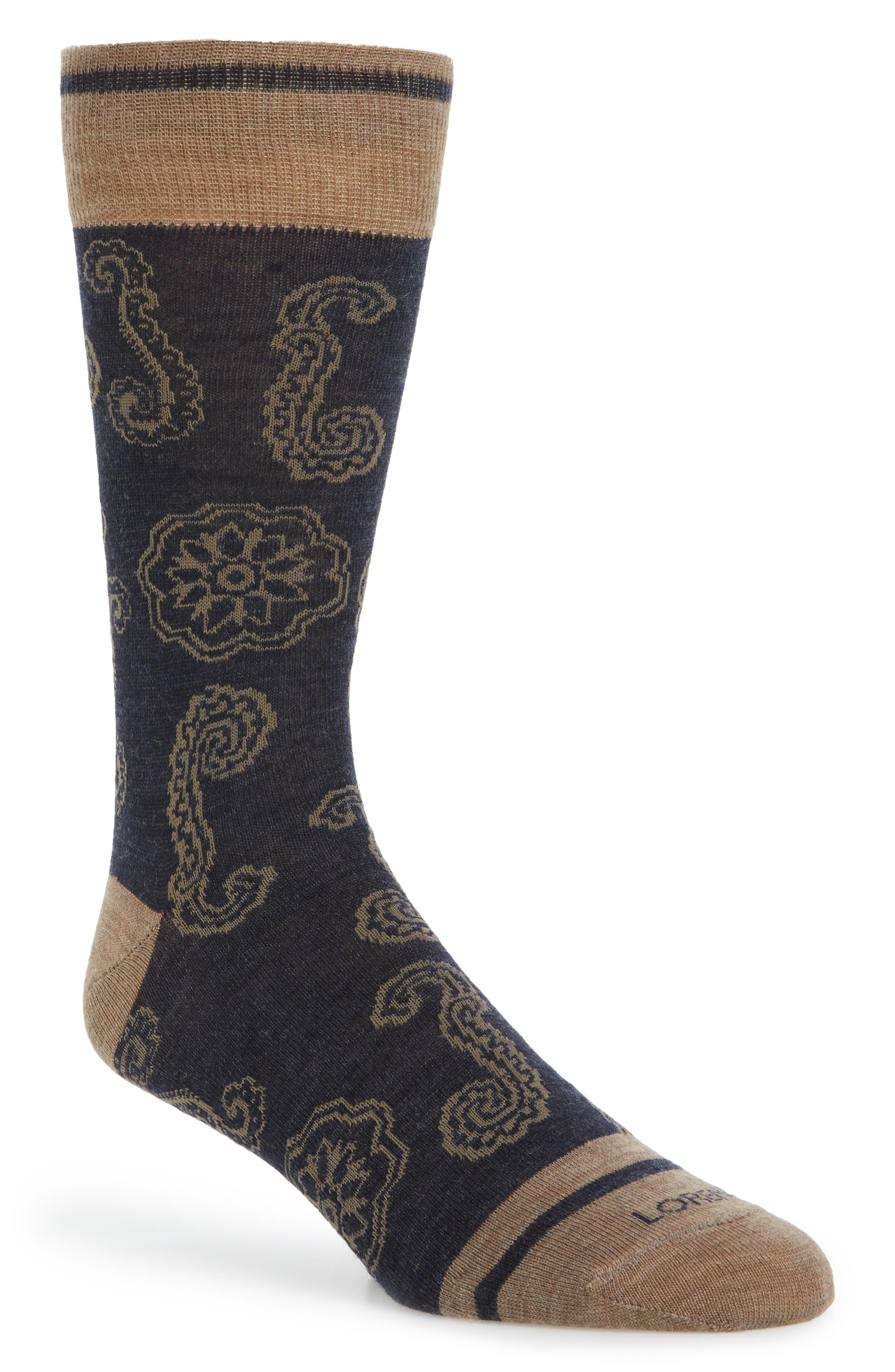 Floral Crew Socks,                         Main,                         color, Denim