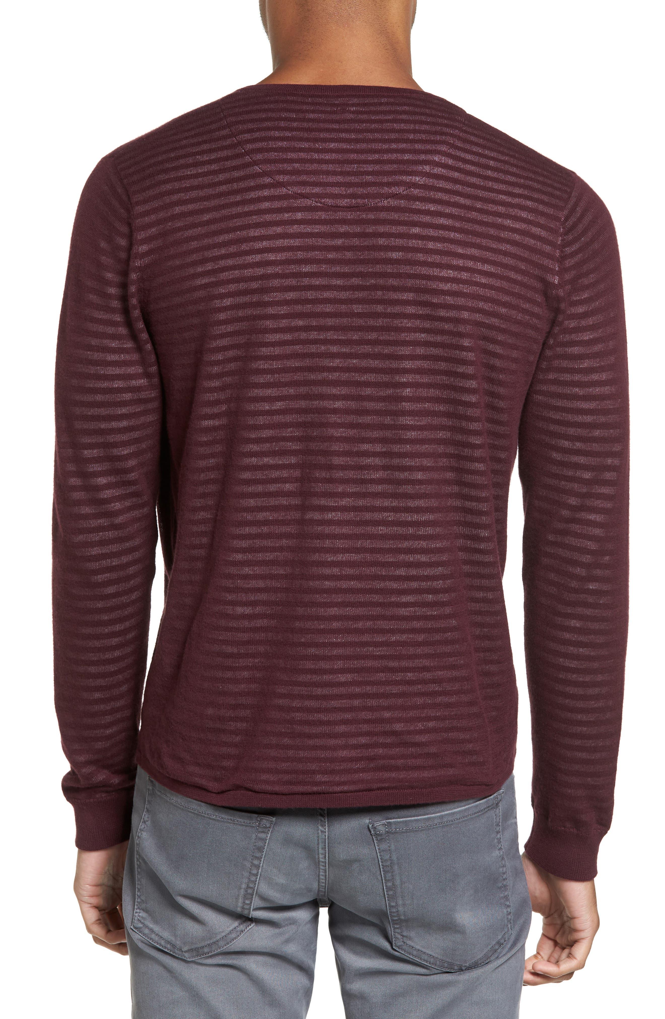Stripe V-Neck Double Layer Sweater,                             Alternate thumbnail 2, color,                             Burgundy Stem Stripe