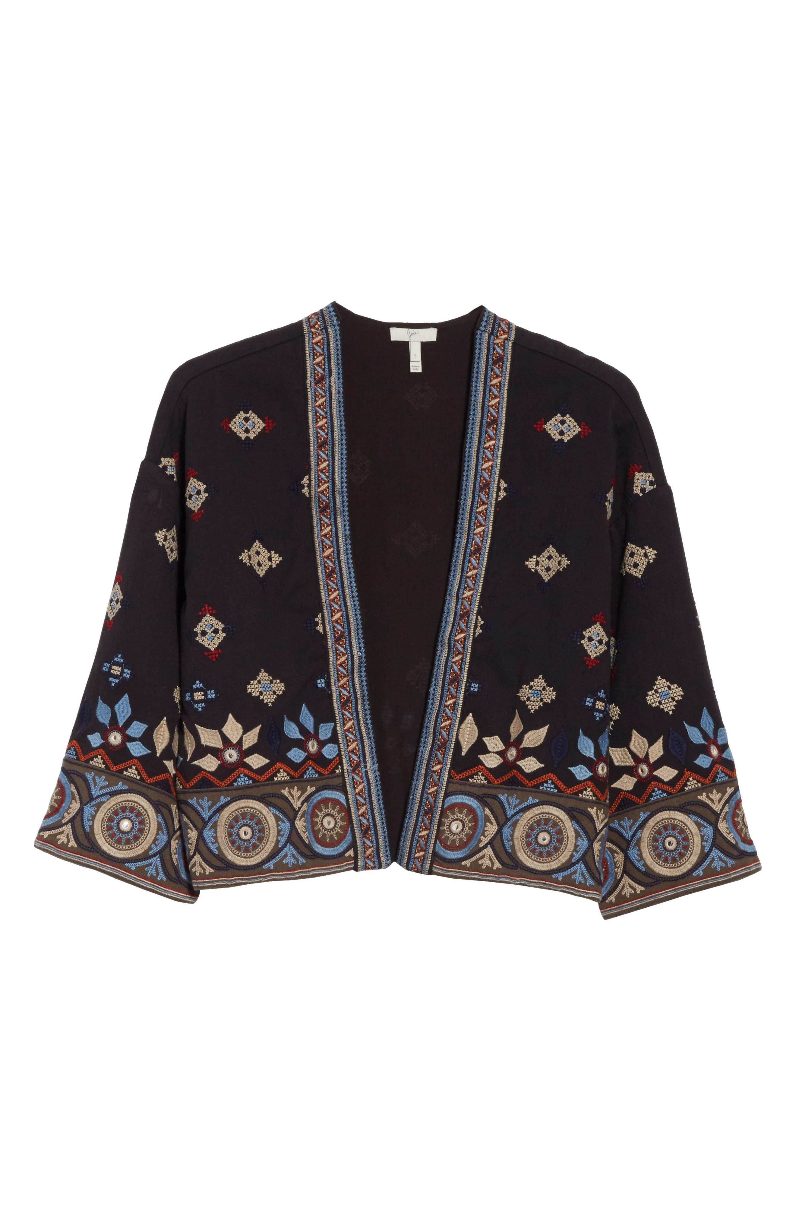 Brianny Embroidered Cardigan,                             Alternate thumbnail 6, color,                             Caviar