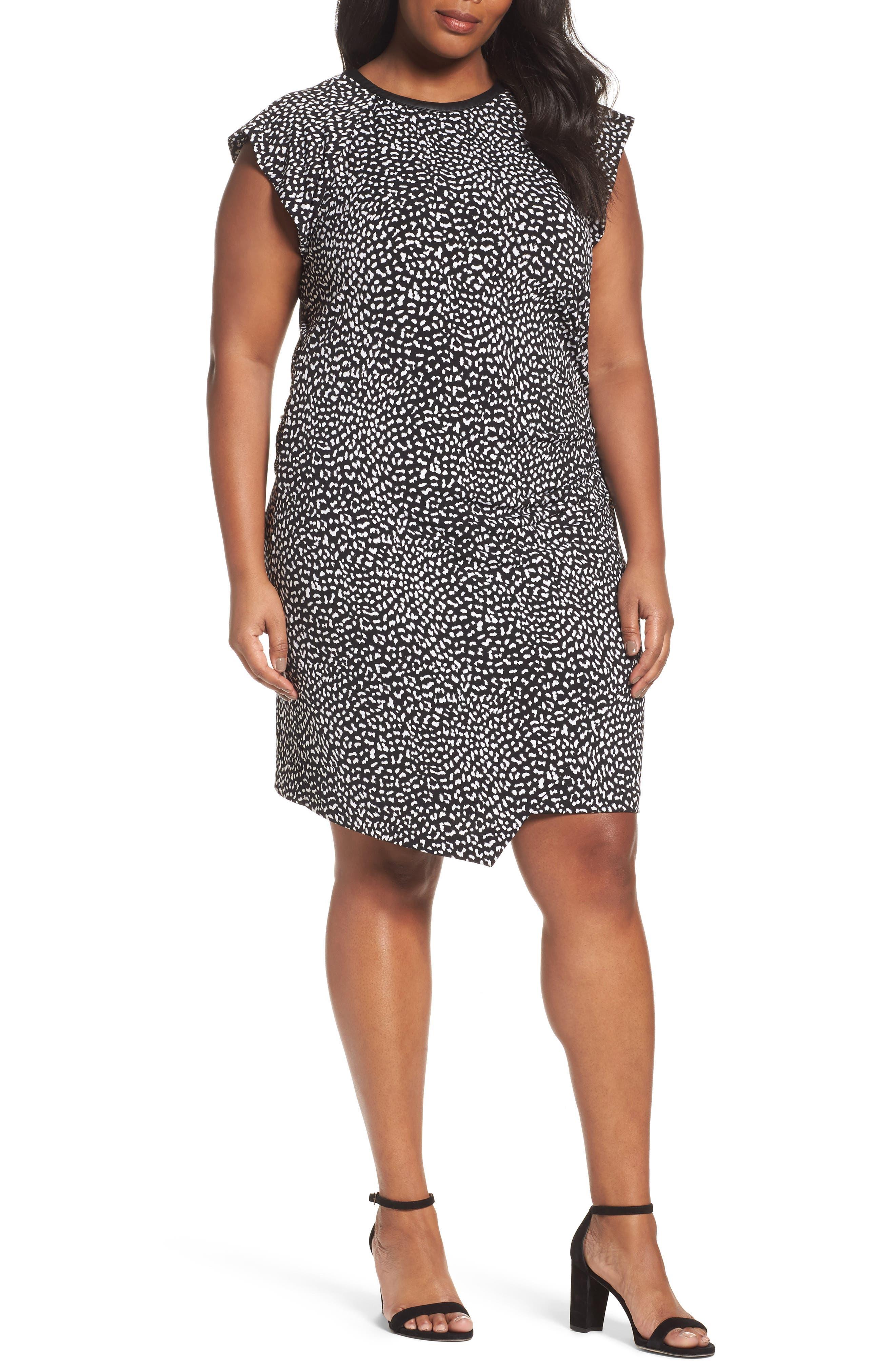 Cheetah Print Flutter Sleeve Dress,                         Main,                         color, Black