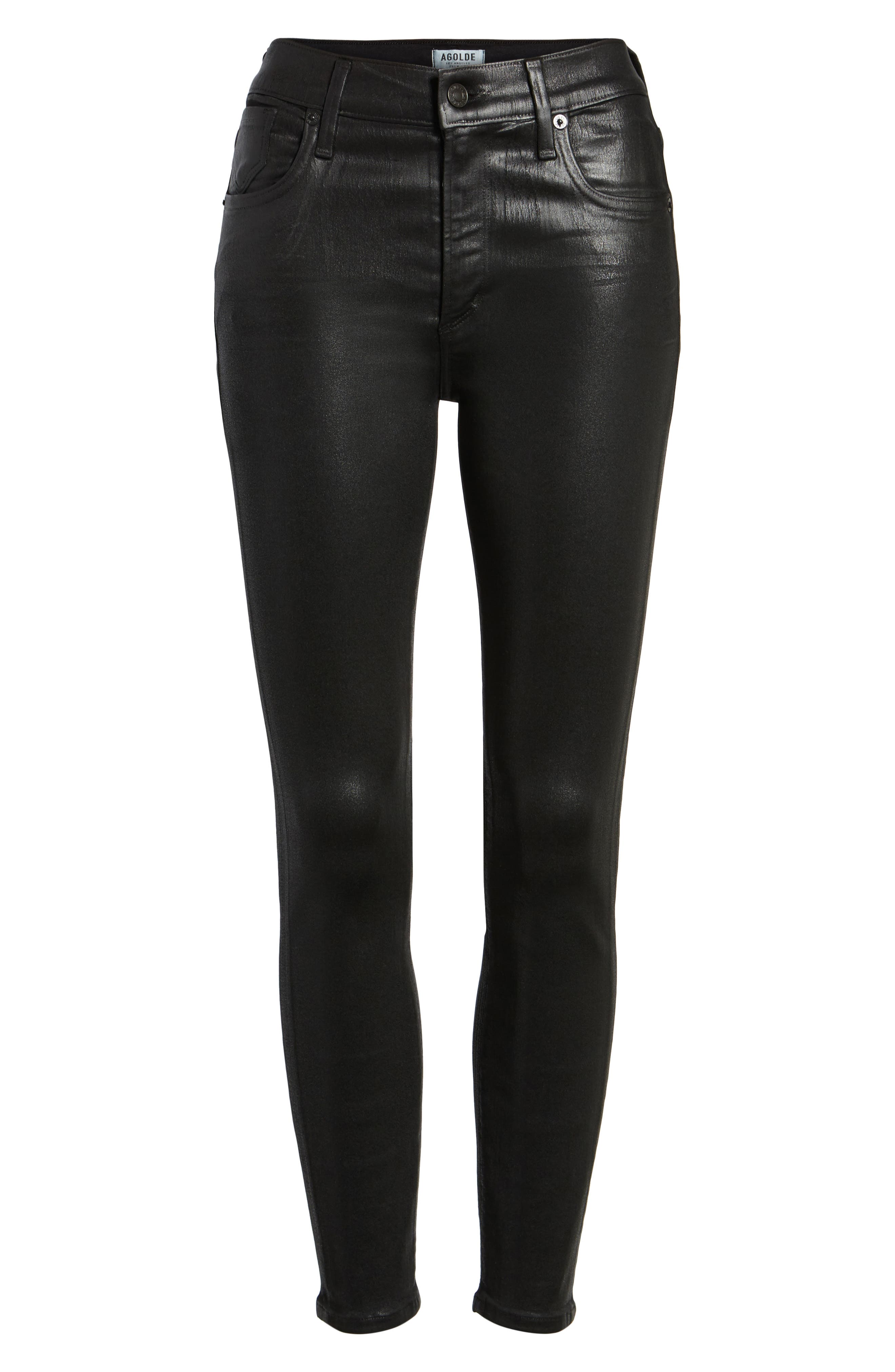 Alternate Image 6  - AGOLDE Sophie Coated High Waist Crop Skinny Jeans (Black Leatherette)