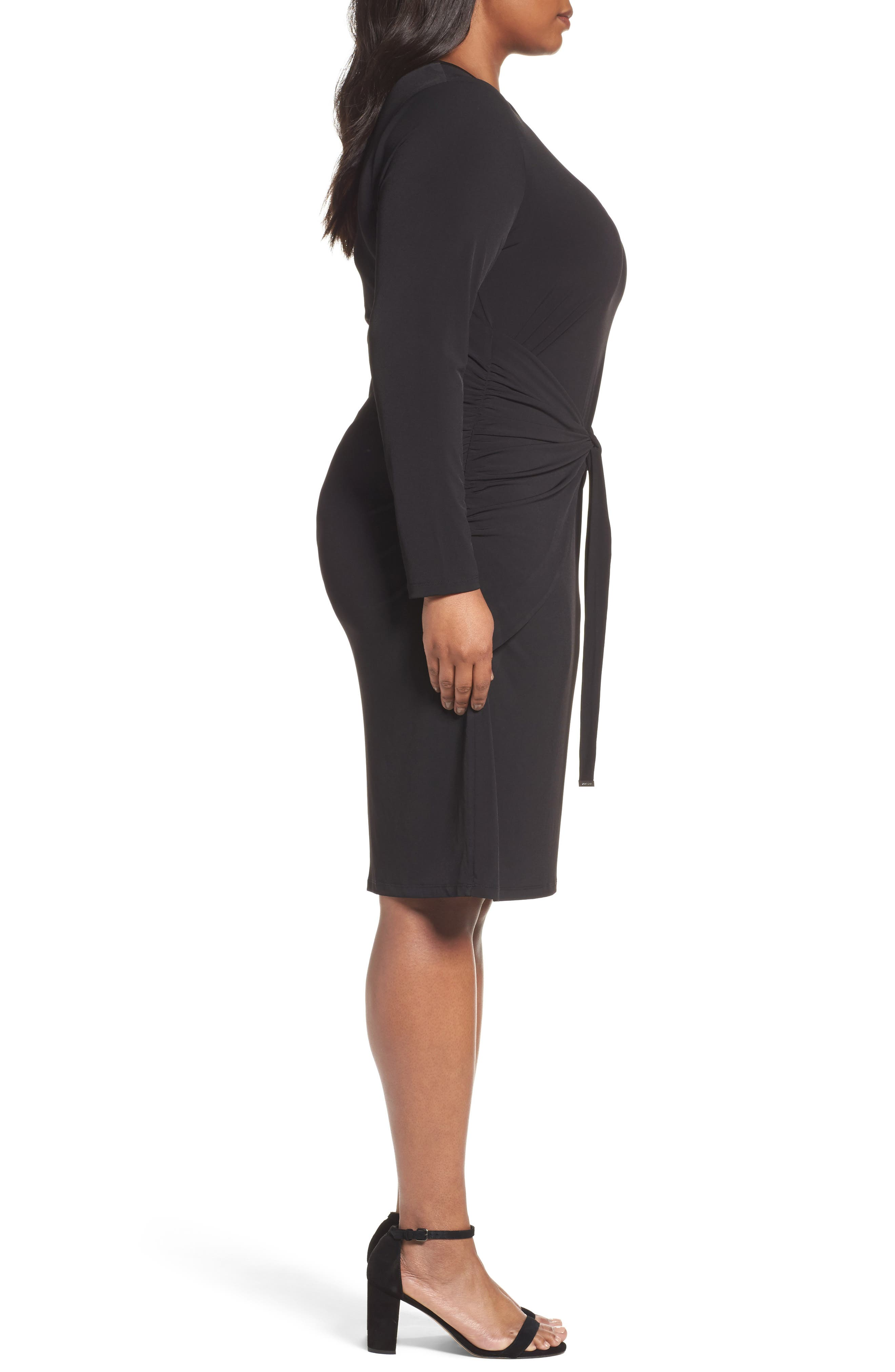 Twist Waist Dress,                             Alternate thumbnail 3, color,                             Black