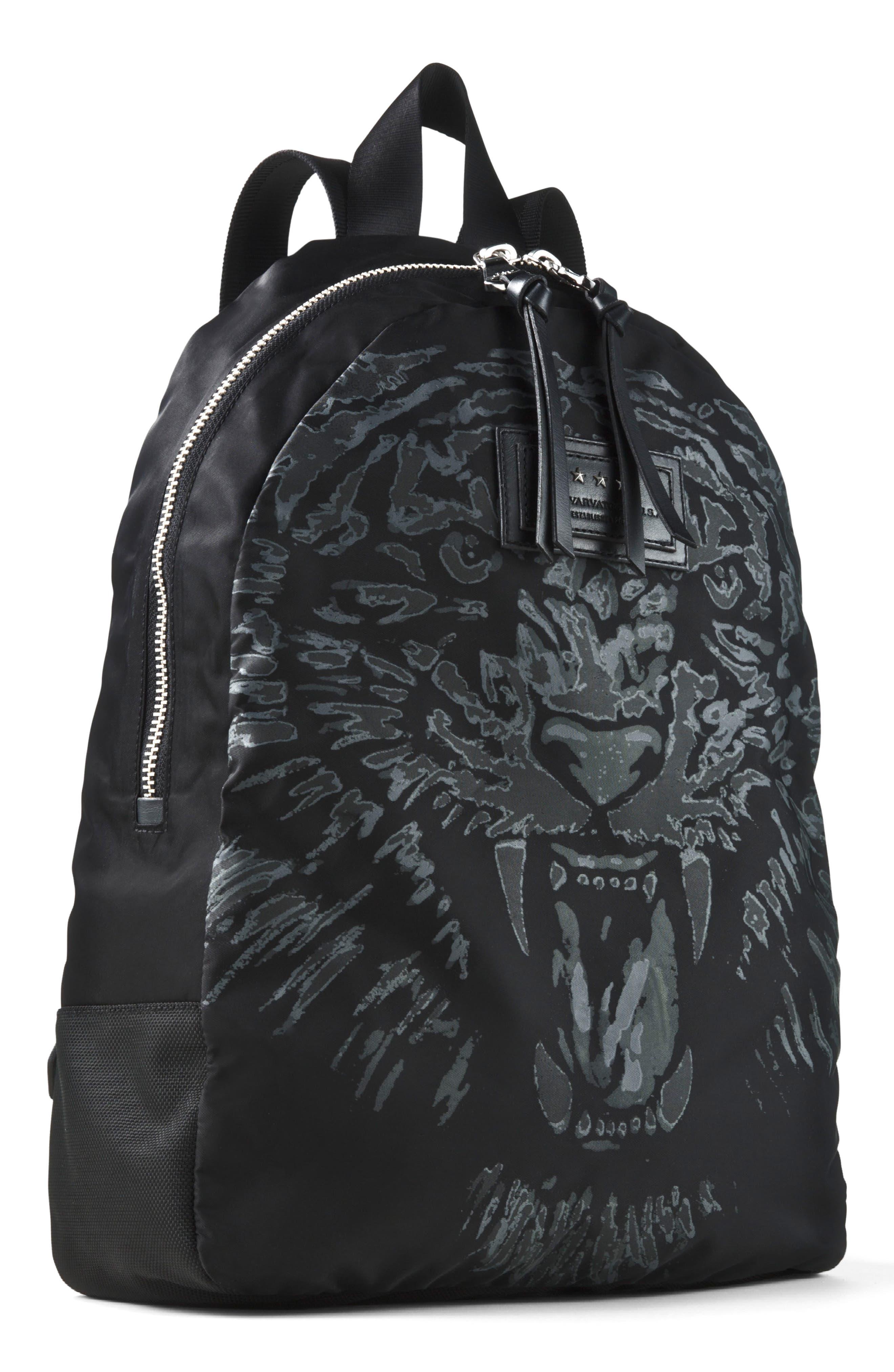 Tiger Print Backpack,                             Main thumbnail 1, color,                             Black