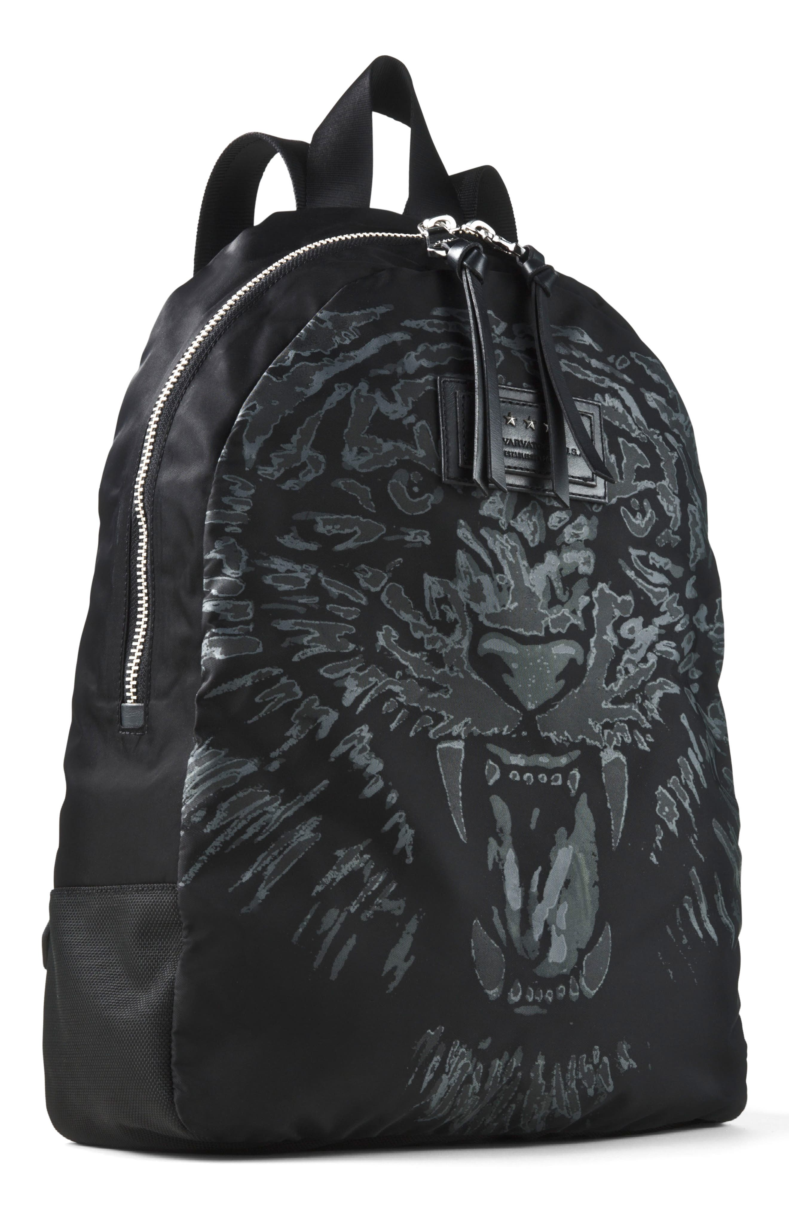 Tiger Print Backpack,                         Main,                         color, Black