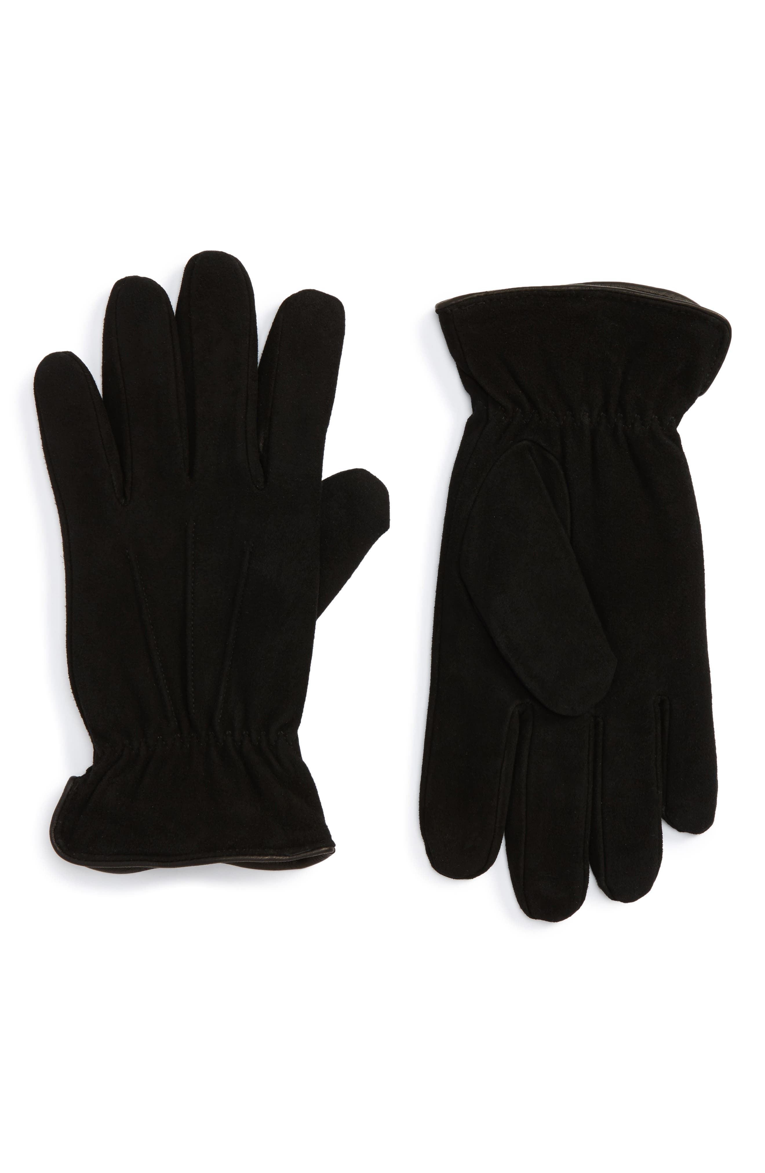 Suede Thermolite<sup>®</sup> Gloves,                             Main thumbnail 1, color,                             Black