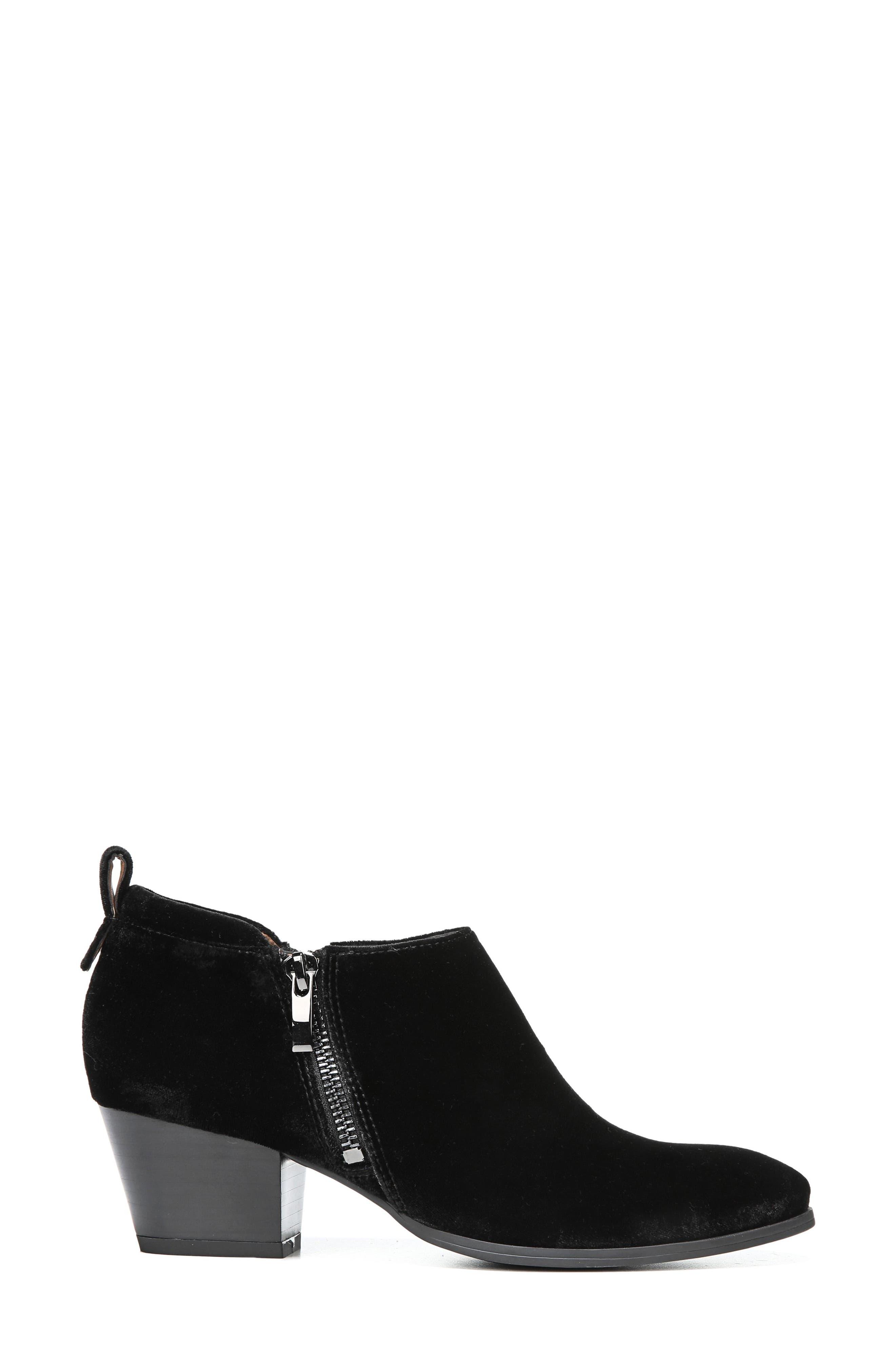 'Granite' Block Heel Bootie,                             Alternate thumbnail 3, color,                             Black Velvet