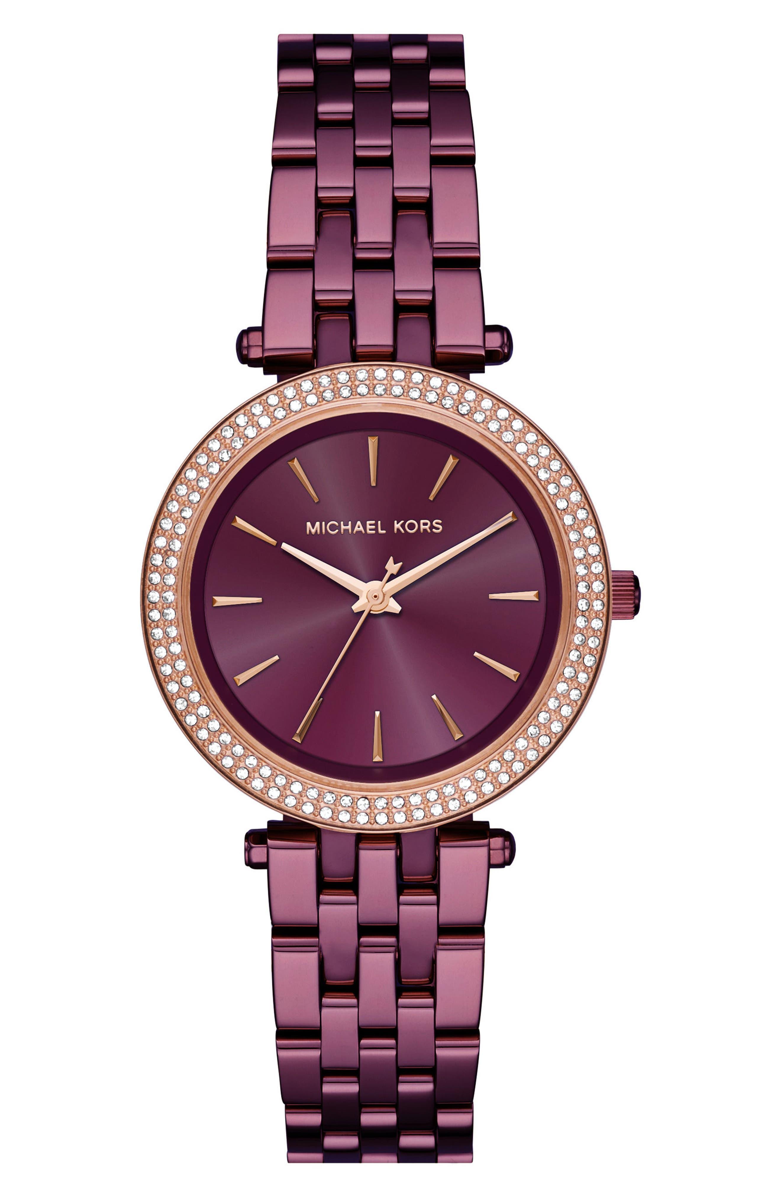 Michael Kors Mini Darci Bracelet Watch, 33mm,                         Main,                         color, Purple