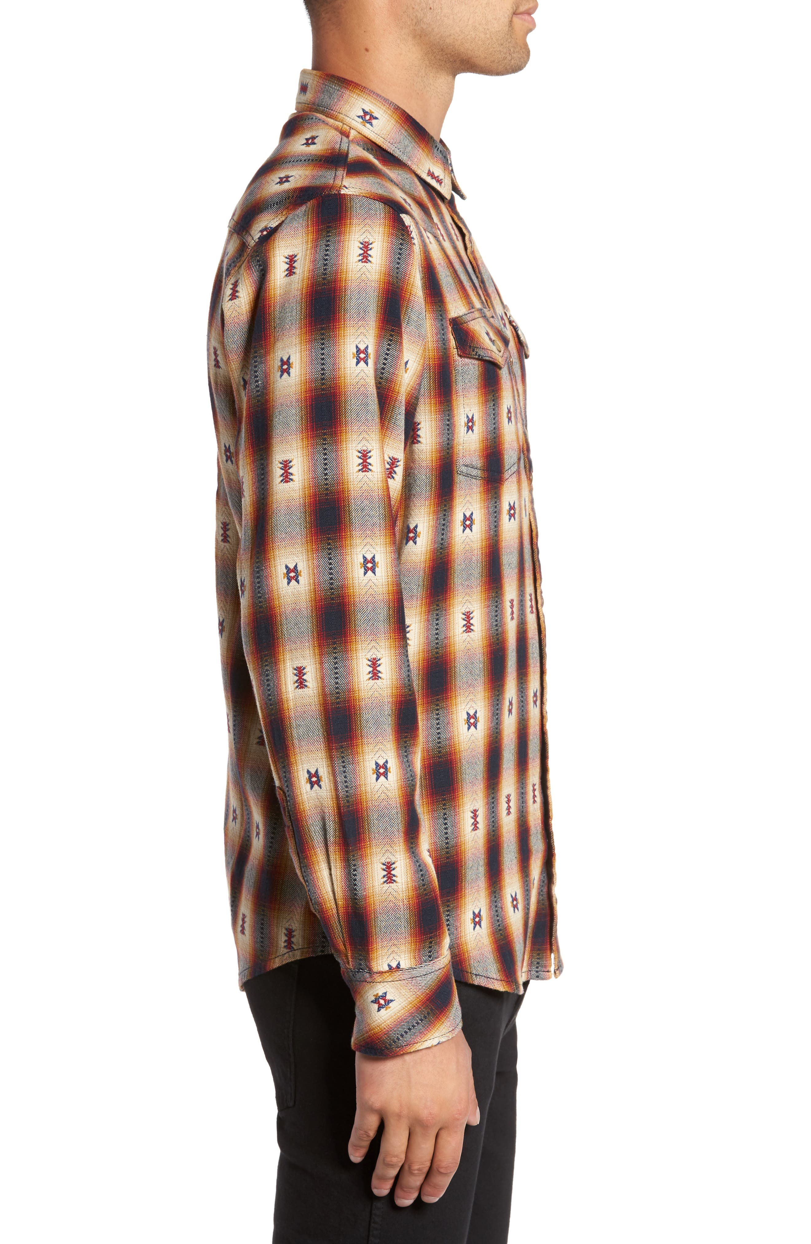 Feliz Dobby Plaid Western Shirt,                             Alternate thumbnail 4, color,                             Navy Tan Ombre Dobby