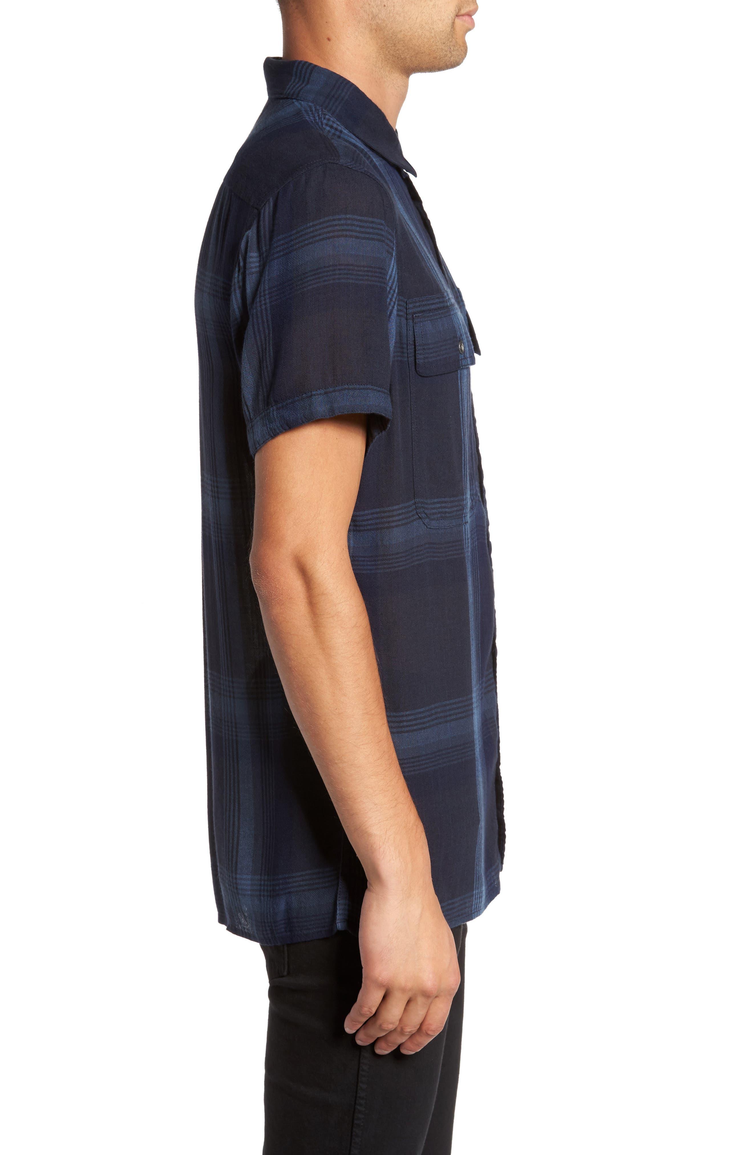Drapey Sport Shirt,                             Alternate thumbnail 3, color,                             Blue Granite Plaid