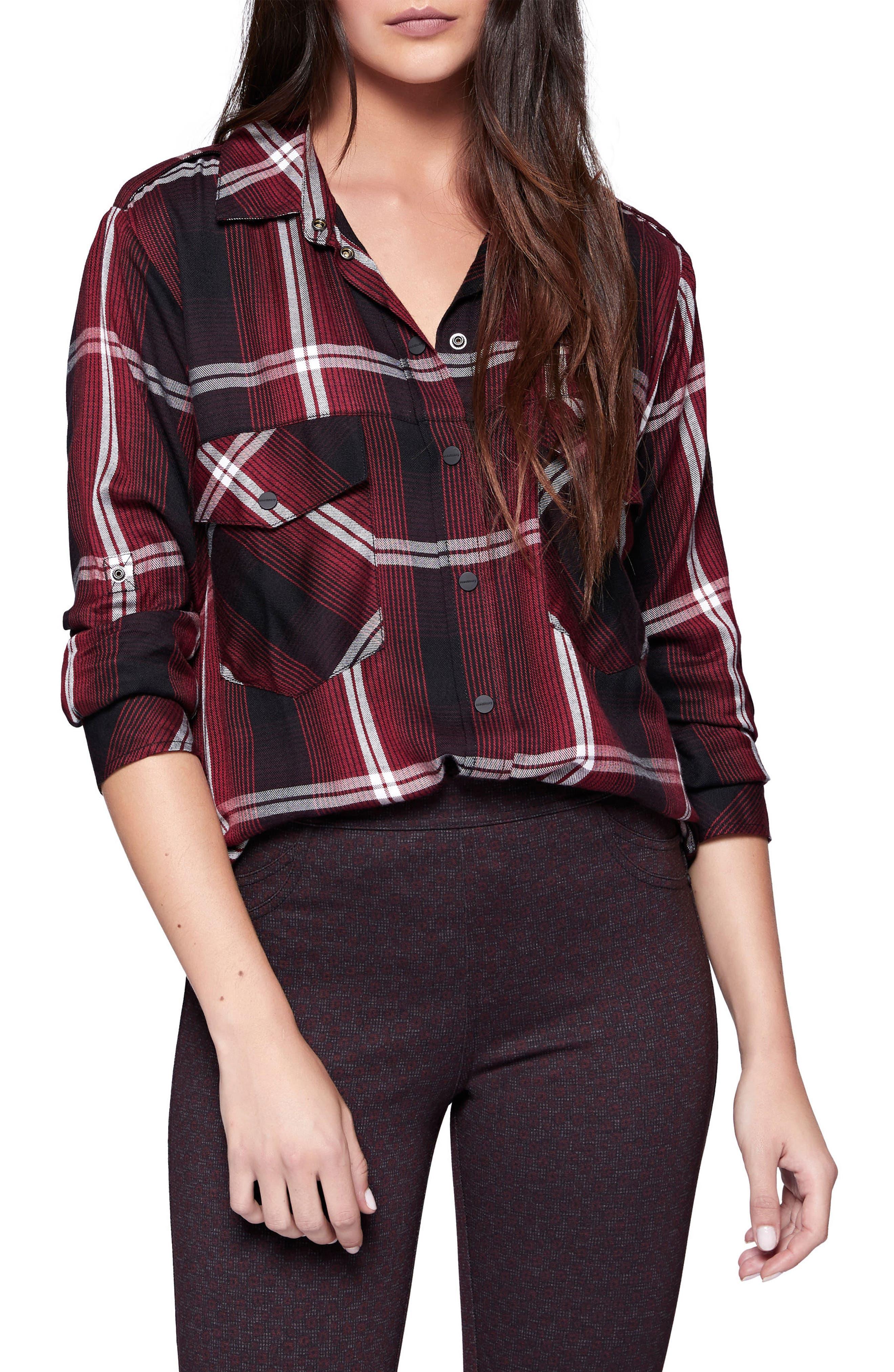 Plaid Boyfriend Shirt,                             Main thumbnail 1, color,                             Zinfandel Plaid