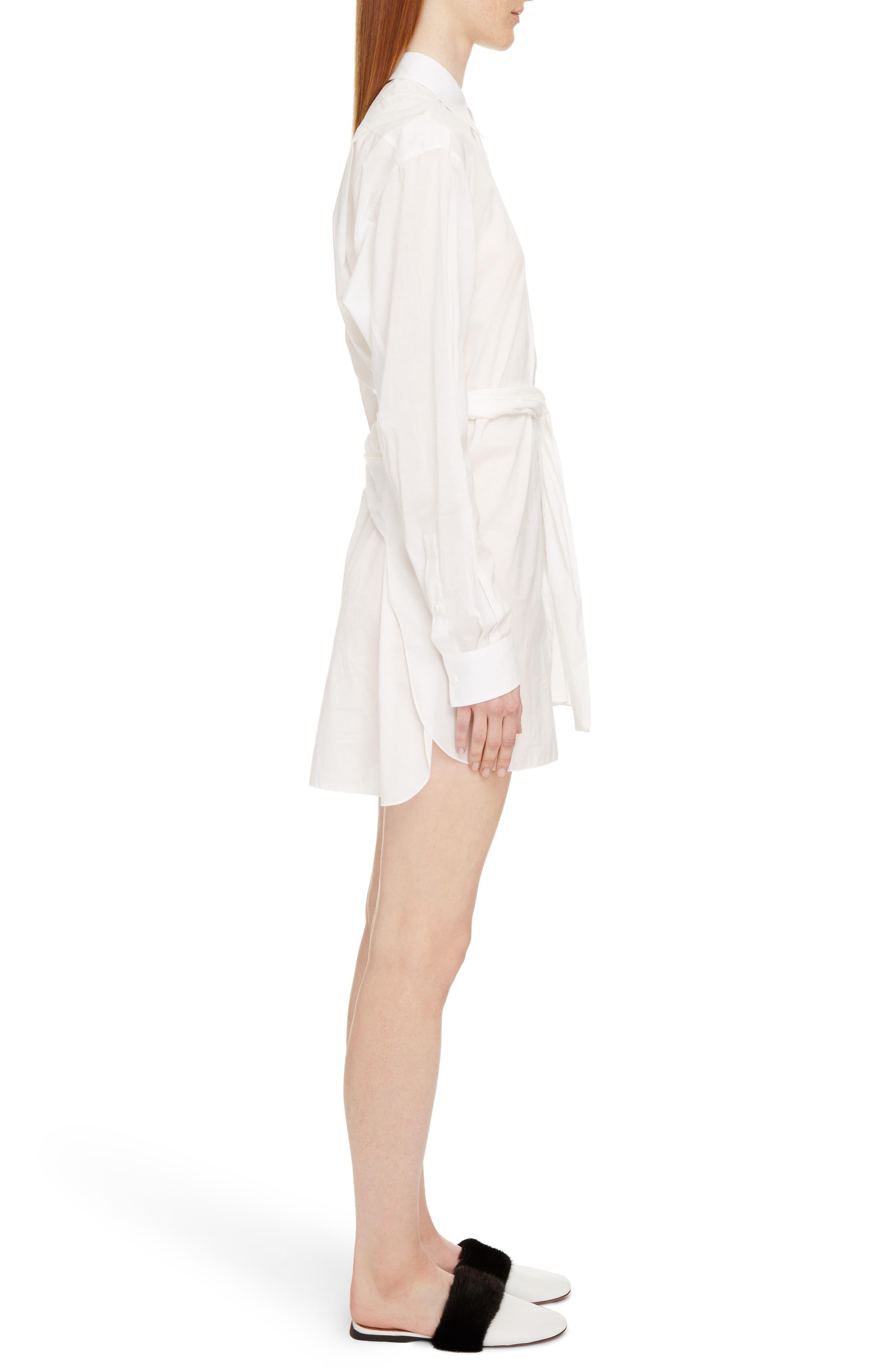 Tie Waist Poplin Shirtdress,                             Alternate thumbnail 4, color,                             White