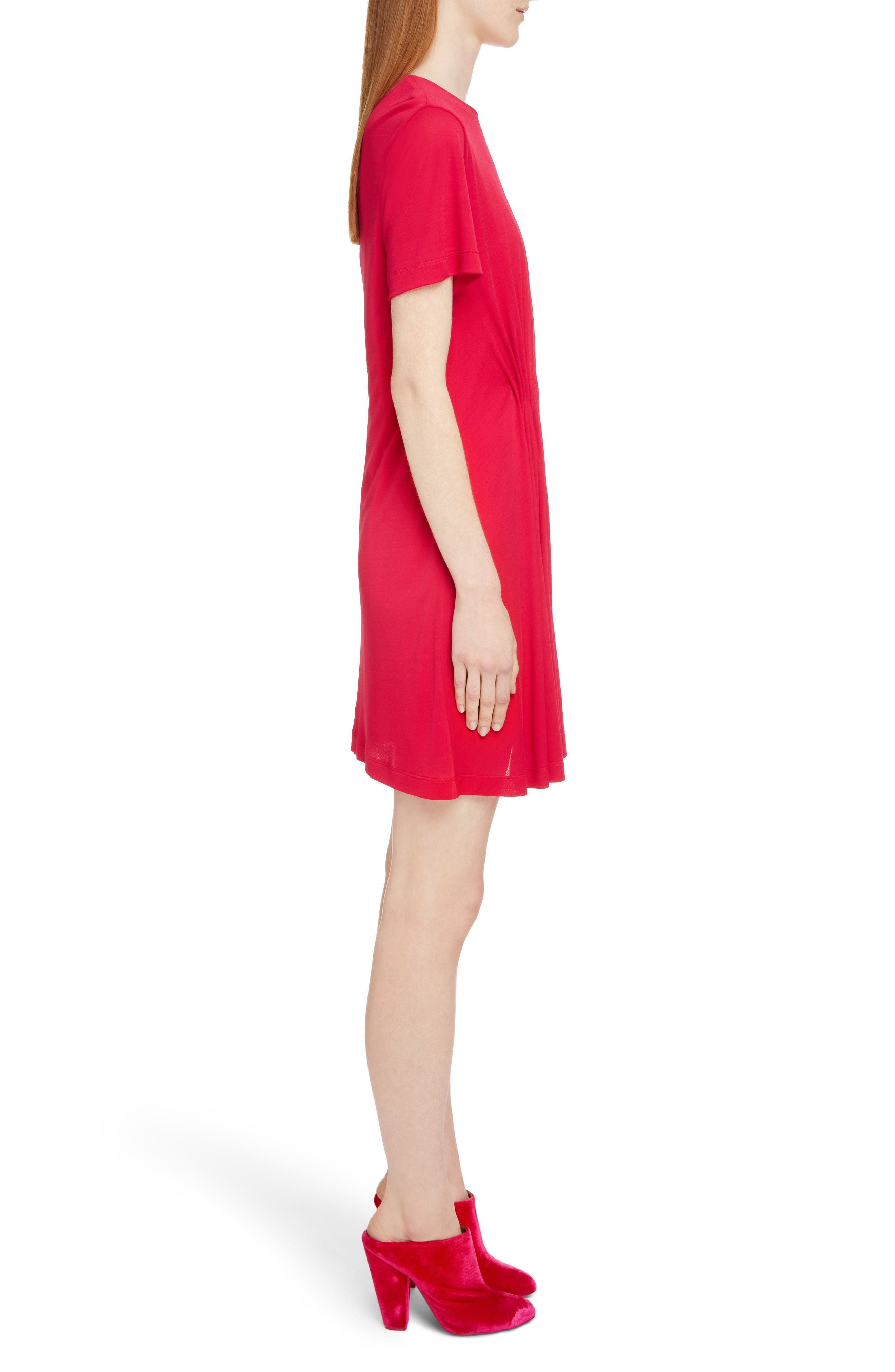 Gathered Jersey Dress,                             Alternate thumbnail 3, color,                             Fuschia
