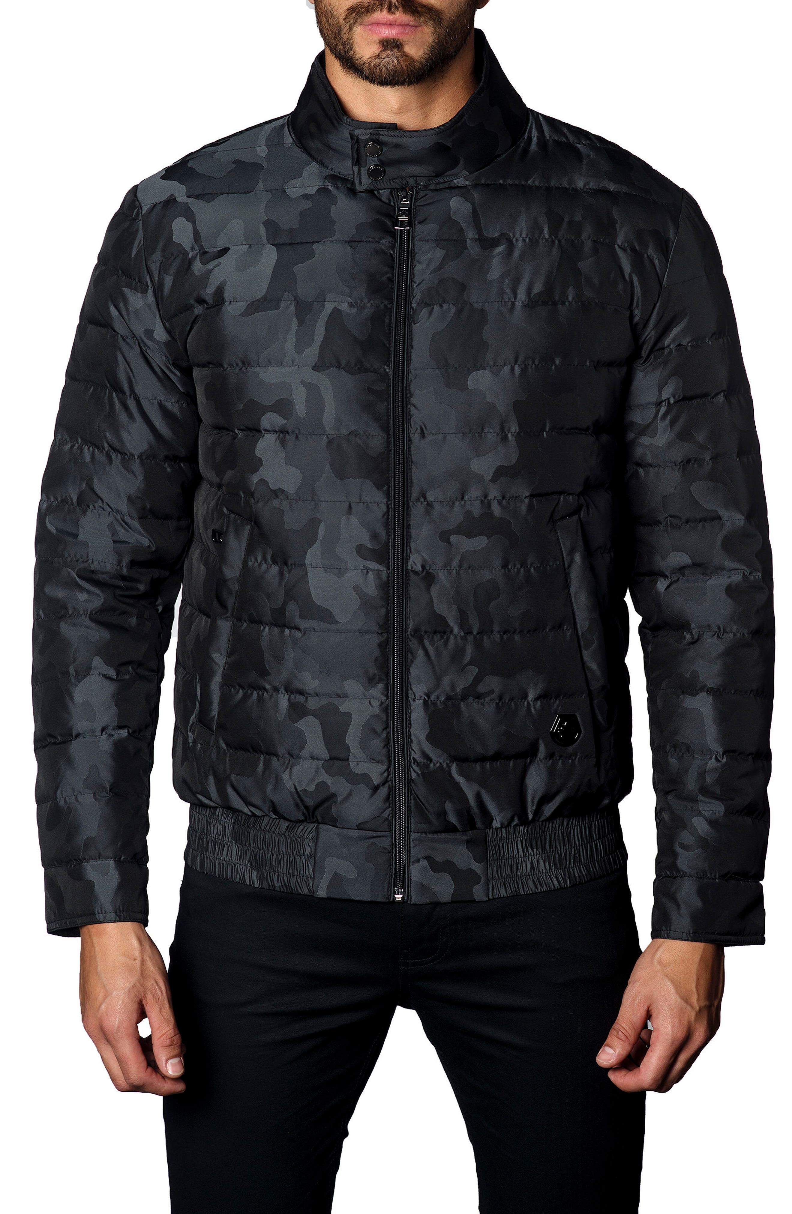 Chicago Camo Down Puffer Jacket,                             Main thumbnail 1, color,                             Black Camo