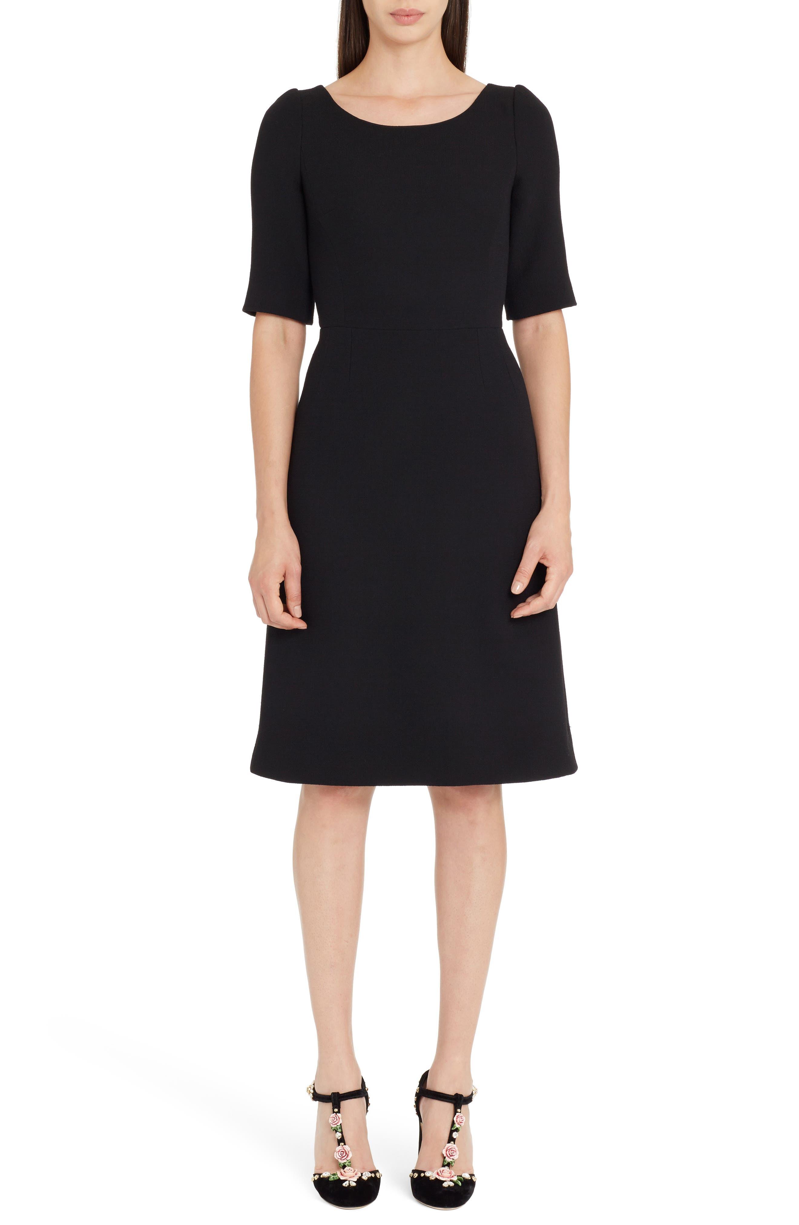 Button Detail Wool Crepe Dress,                             Main thumbnail 1, color,                             Black