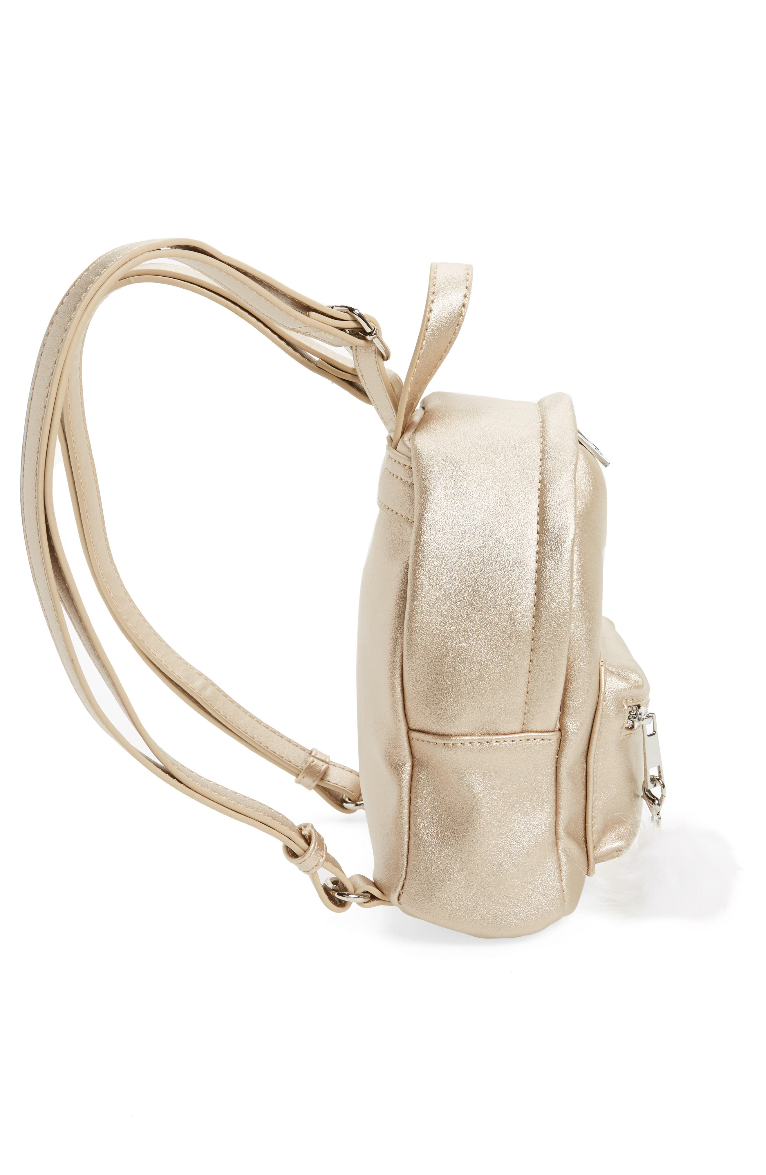 Faux Leather Mini Backpack,                             Alternate thumbnail 7, color,                             Gold/ Silver