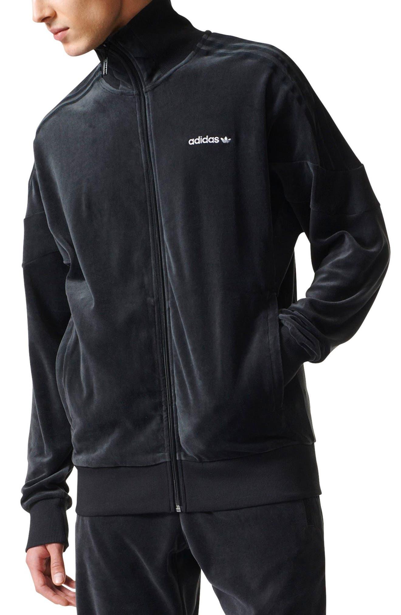 Velour Track Jacket,                             Main thumbnail 1, color,                             Black