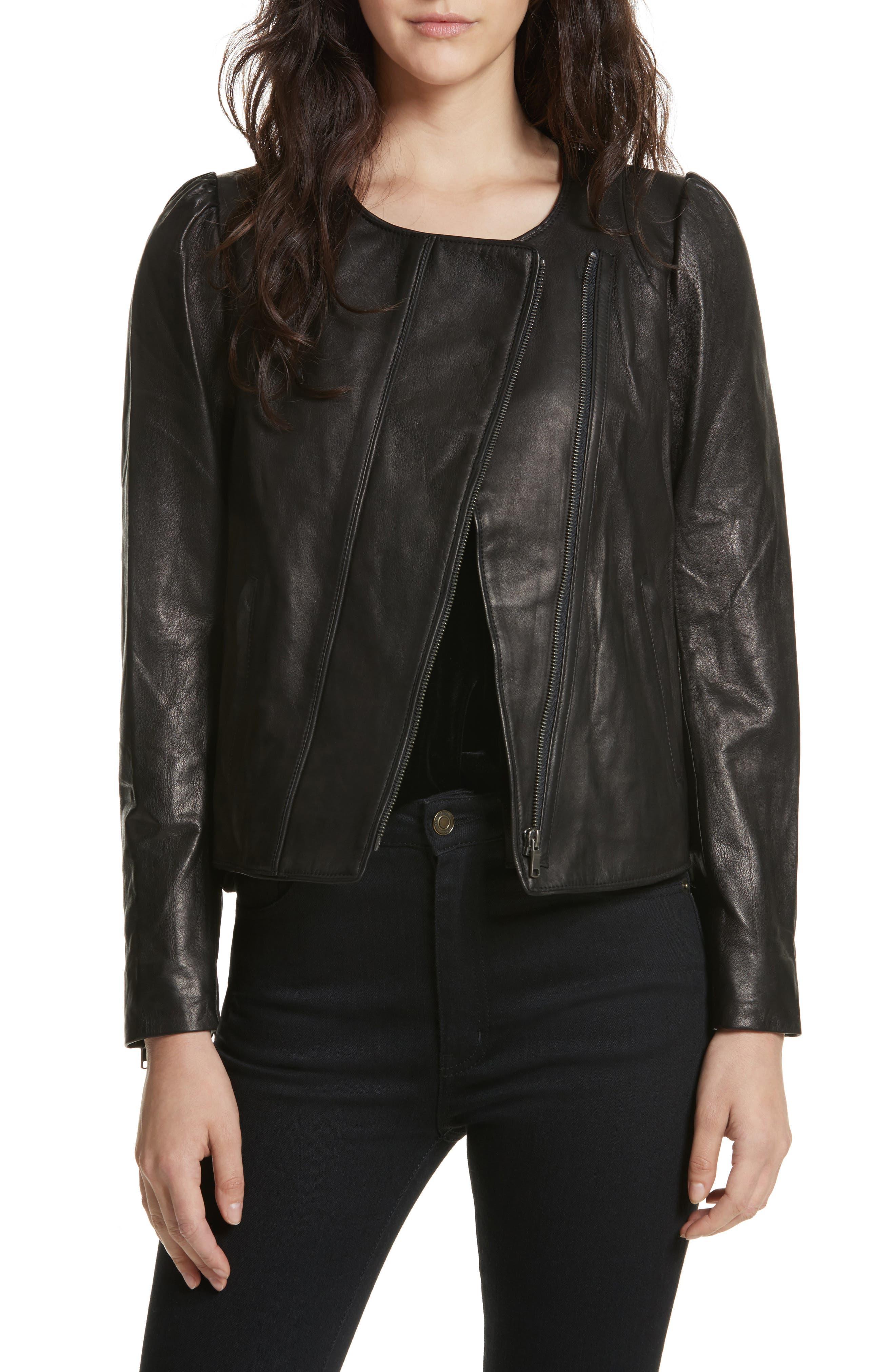 Derica Leather Jacket,                         Main,                         color, Caviar