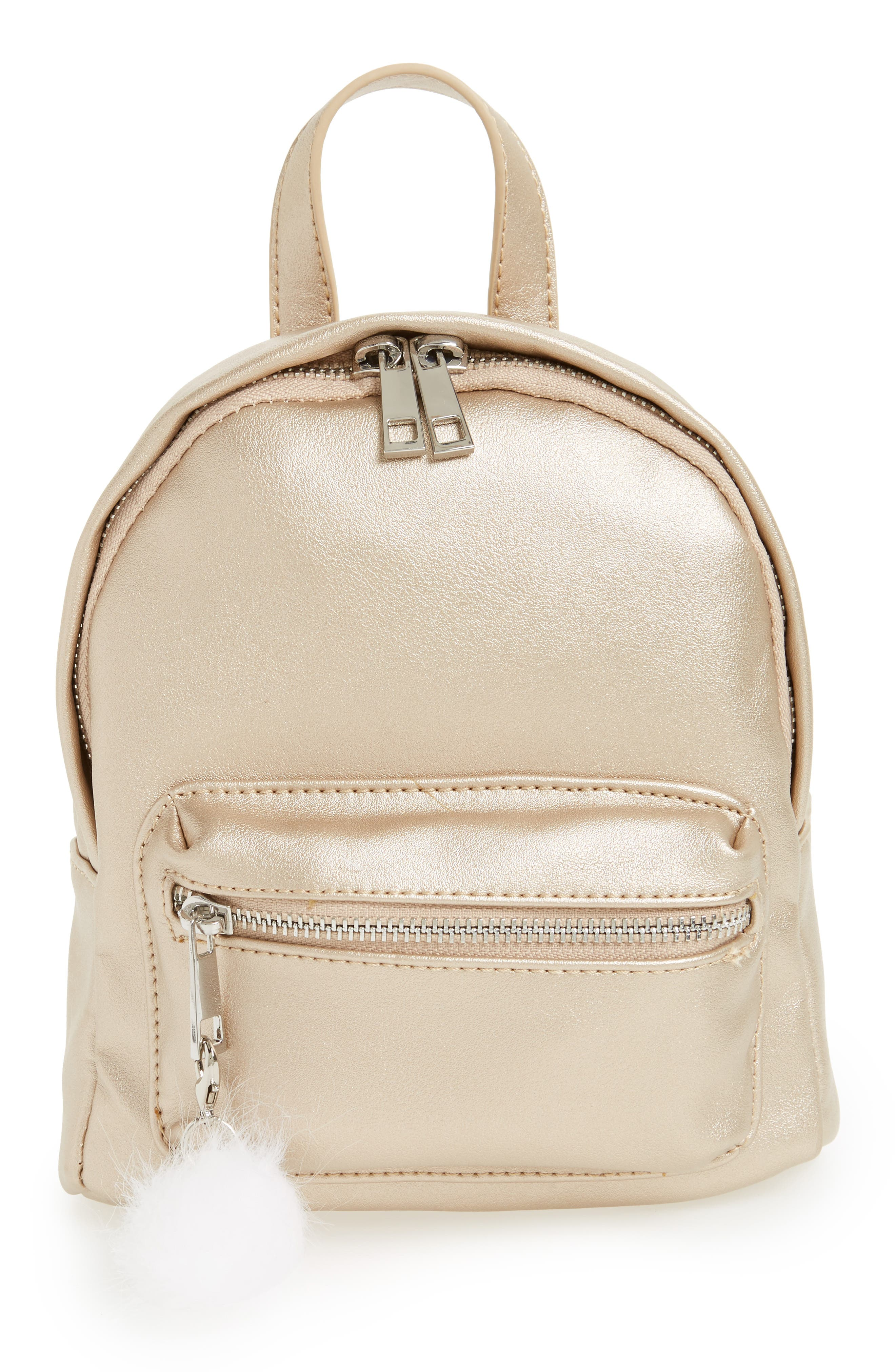 Faux Leather Mini Backpack,                             Main thumbnail 1, color,                             Gold/ Silver