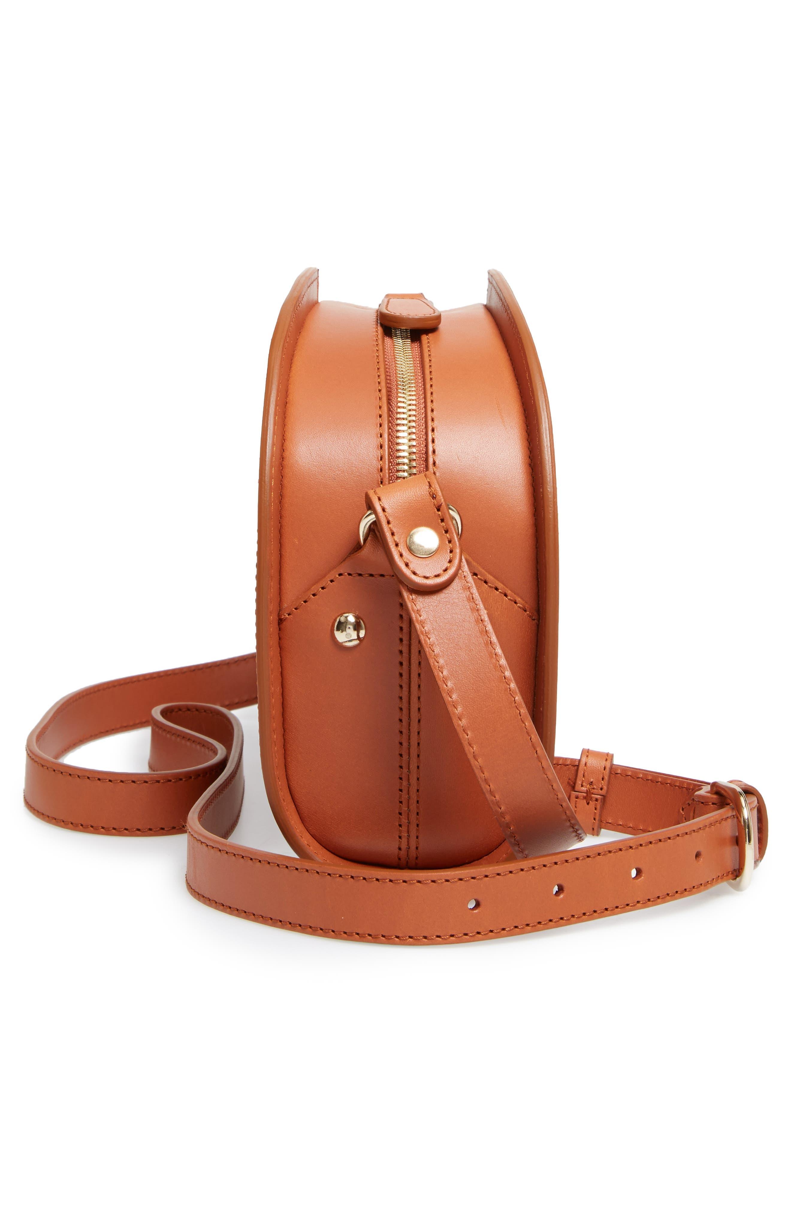 Sac Demi Lune Leather Crossbody Bag,                             Alternate thumbnail 3, color,                             Caramel