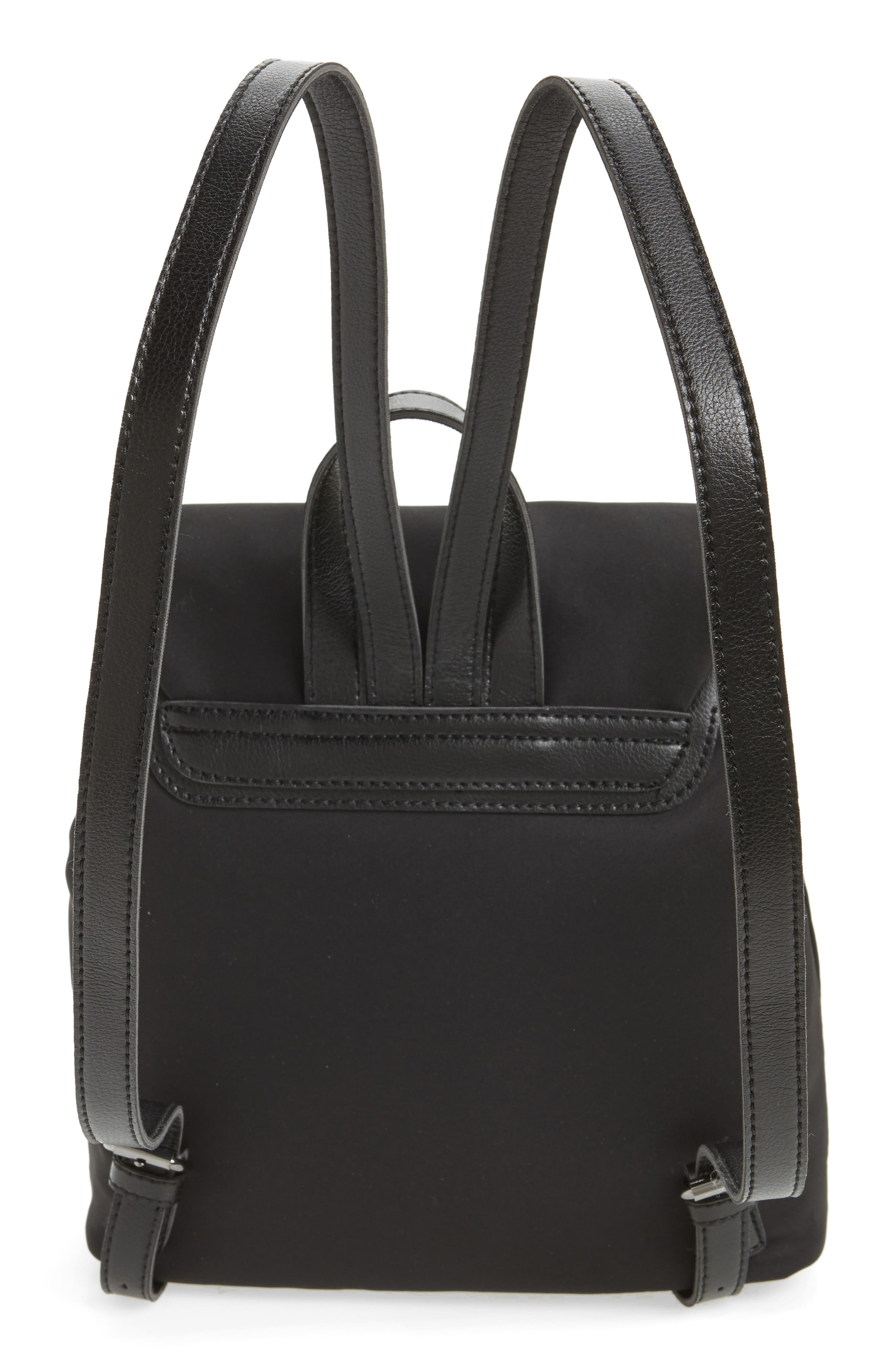 Satin & Faux Leather Backpack,                             Alternate thumbnail 2, color,                             Black